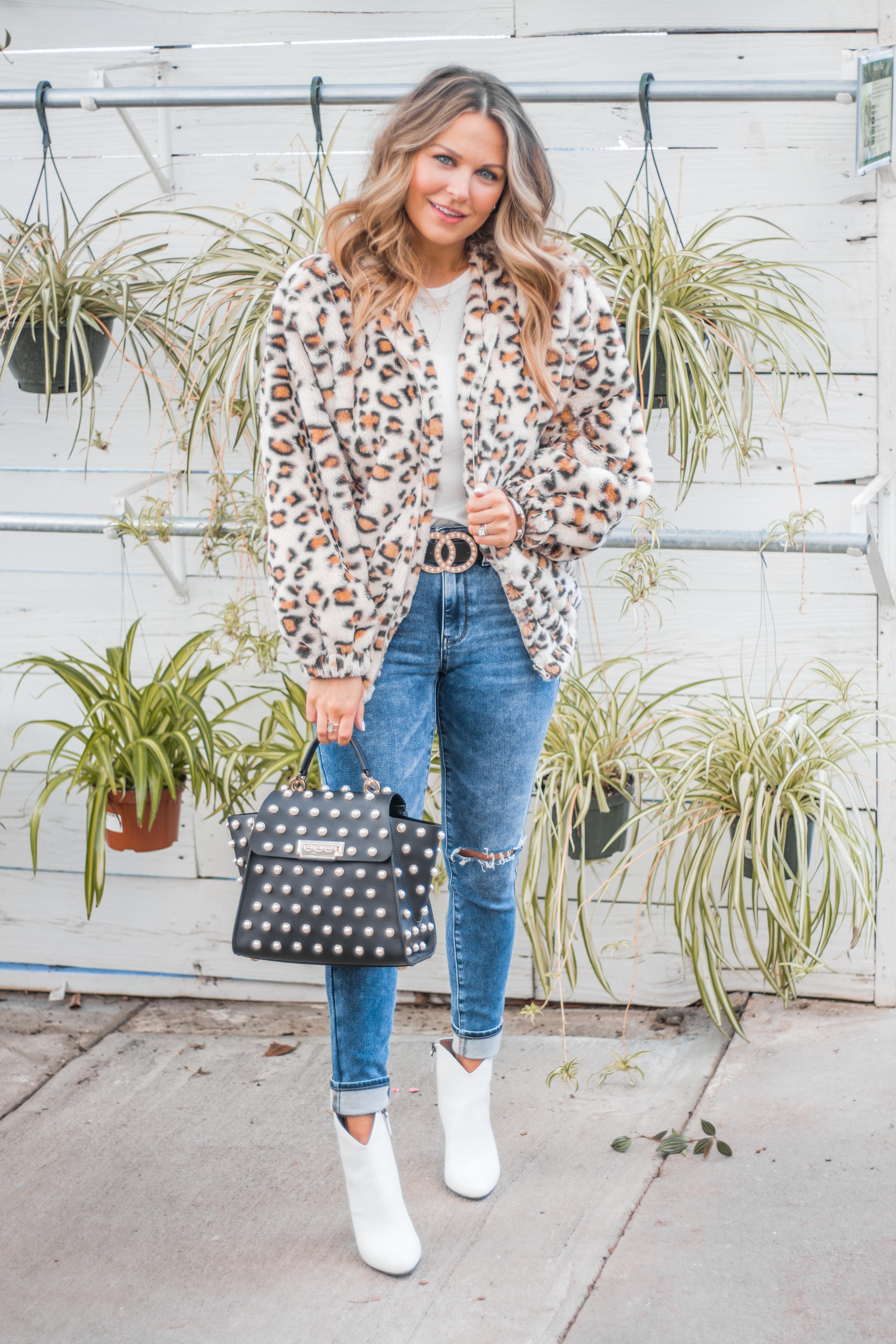 Women's Fashion - White Boots - Leopard Jacket - Spring Fashion - Winter Fashion - Zac Posen Eartha - Outfit Inspo - OOTD - 20