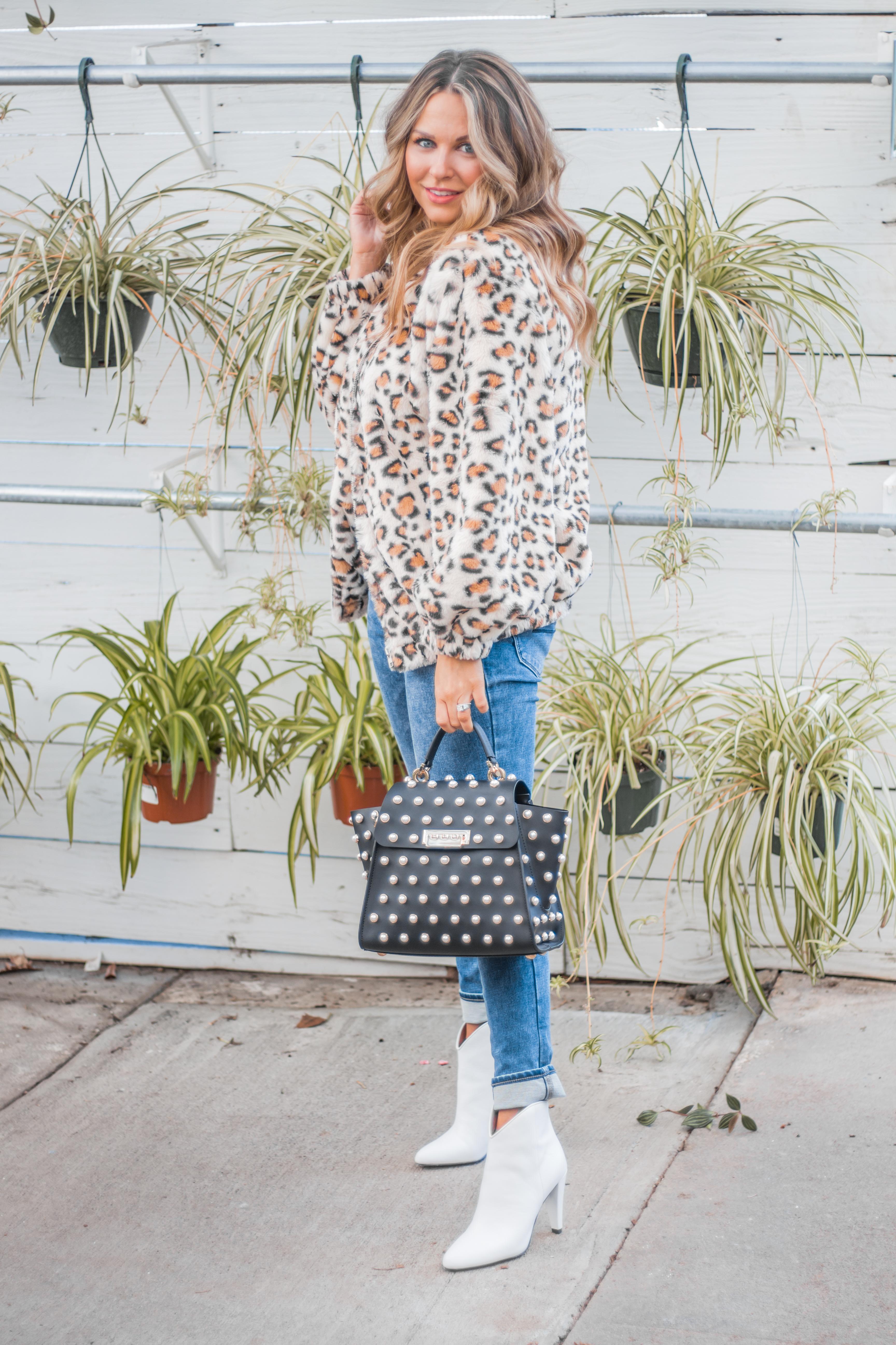 Women's Fashion - White Boots - Leopard Jacket - Spring Fashion - Winter Fashion - Zac Posen Eartha - Outfit Inspo - OOTD - 2