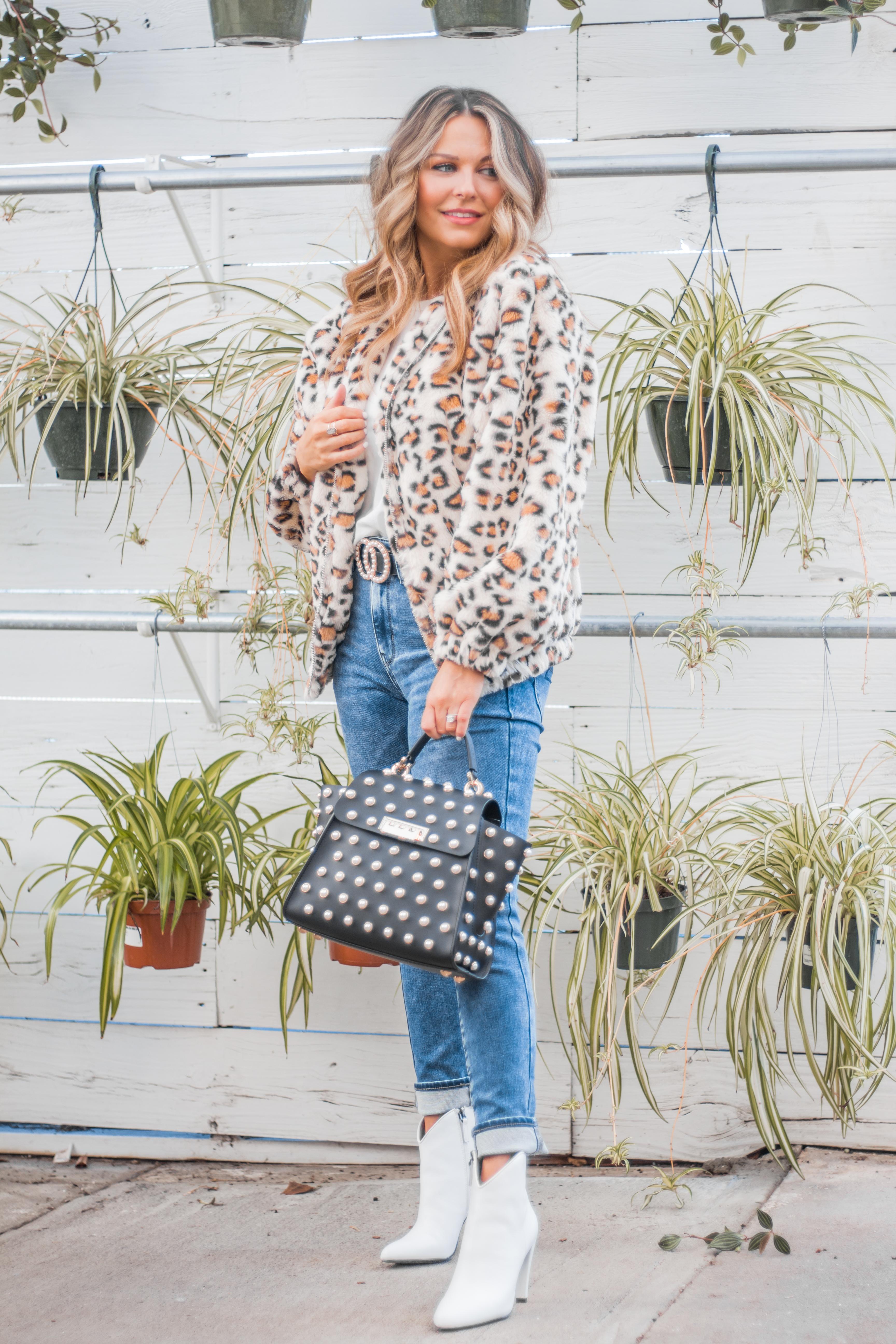 Women's Fashion - White Boots - Leopard Jacket - Spring Fashion - Winter Fashion - Zac Posen Eartha - Outfit Inspo - OOTD - 1