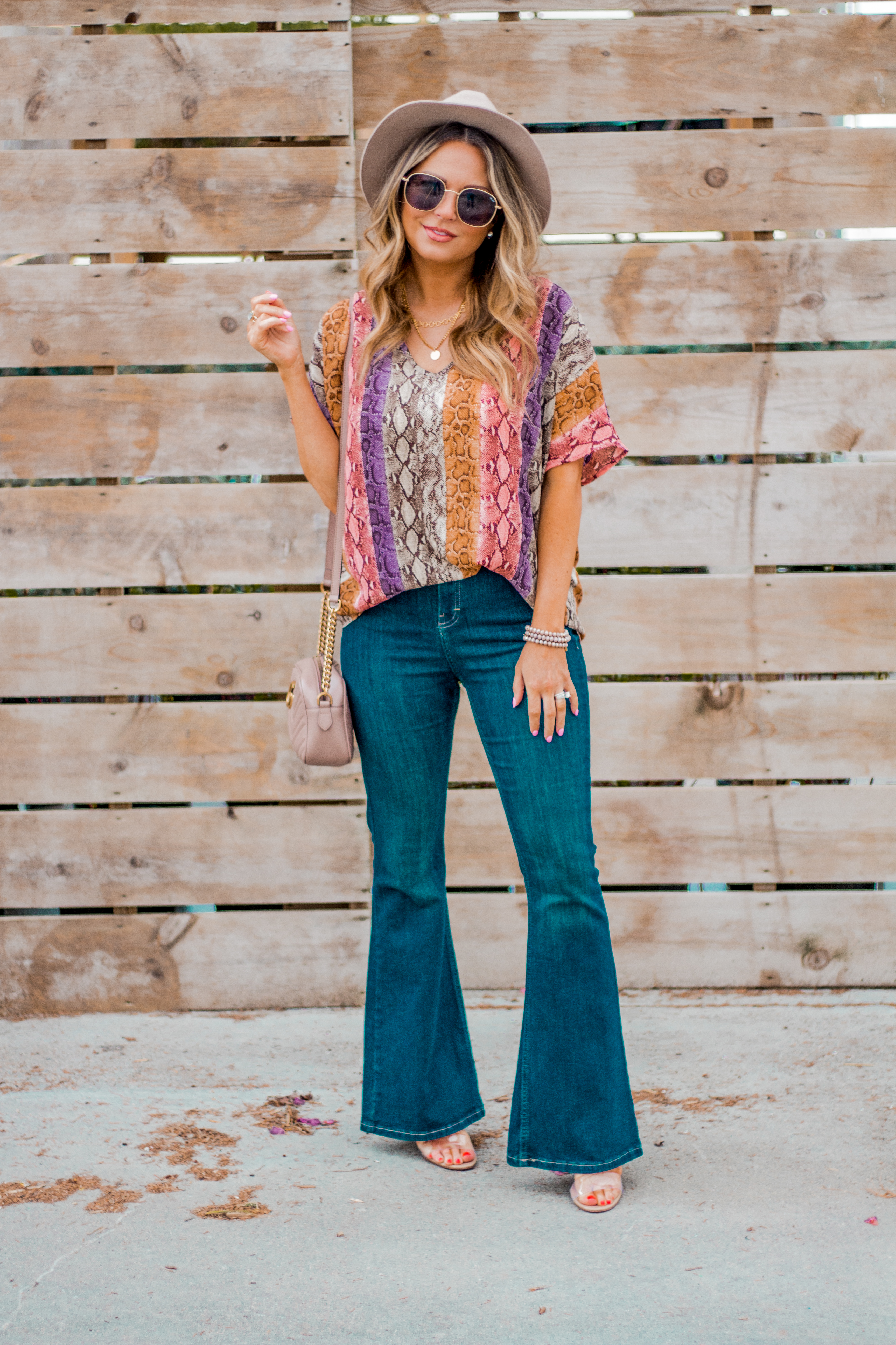Women's Fashion - Snakeskin Print - Snakeskin Trend - Spring Fashion Trend - Omaha Fashion Blog - Boho Vibes - Flare Jeans - 1