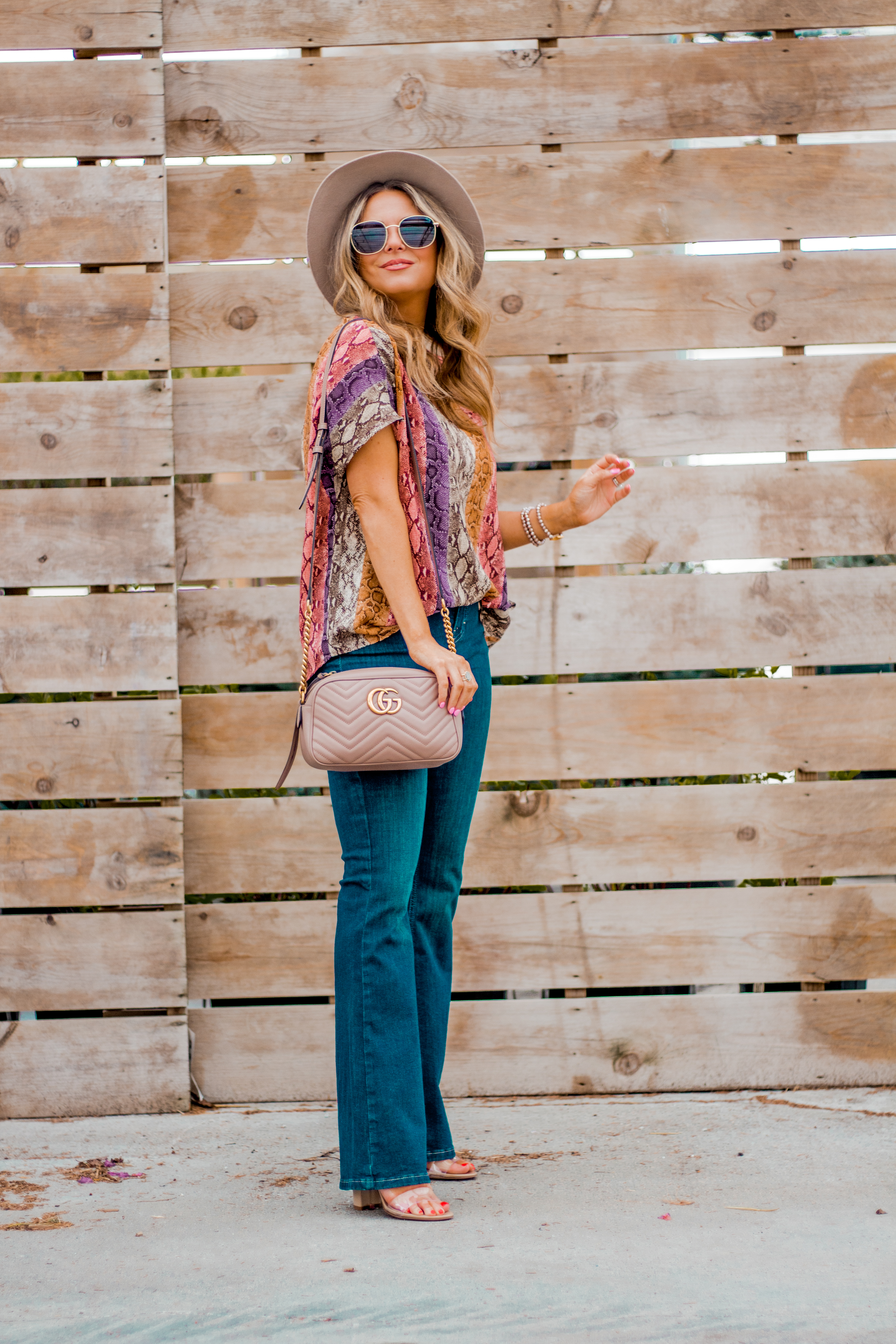 Women's Fashion - Snakeskin Print - Snakeskin Trend - Spring Fashion Trend - Omaha Fashion Blog - Boho Vibes - Flare Jeans - 4