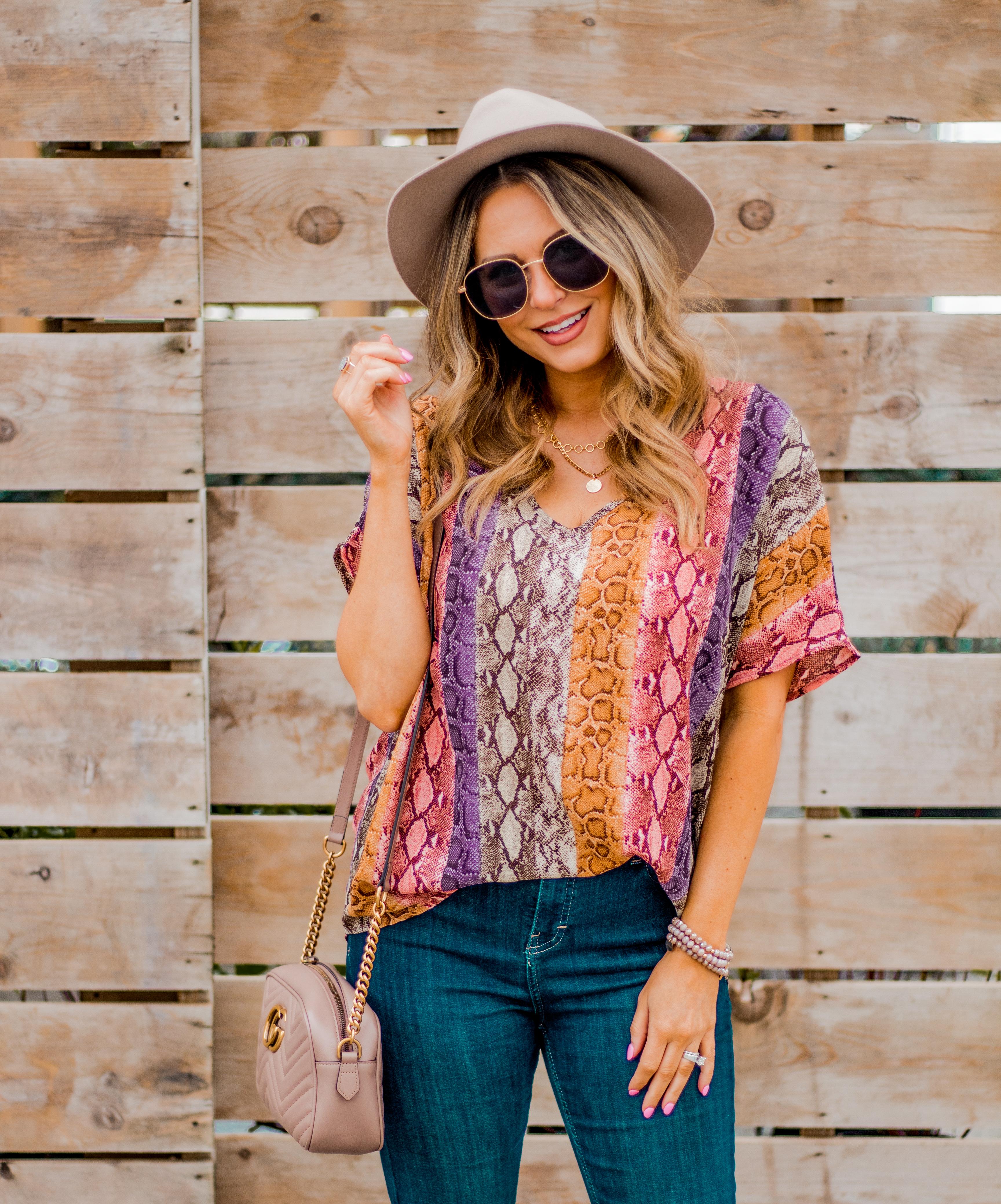 Women's Fashion - Snakeskin Print - Snakeskin Trend - Spring Fashion Trend - Omaha Fashion Blog - Boho Vibes - Flare Jeans - 8