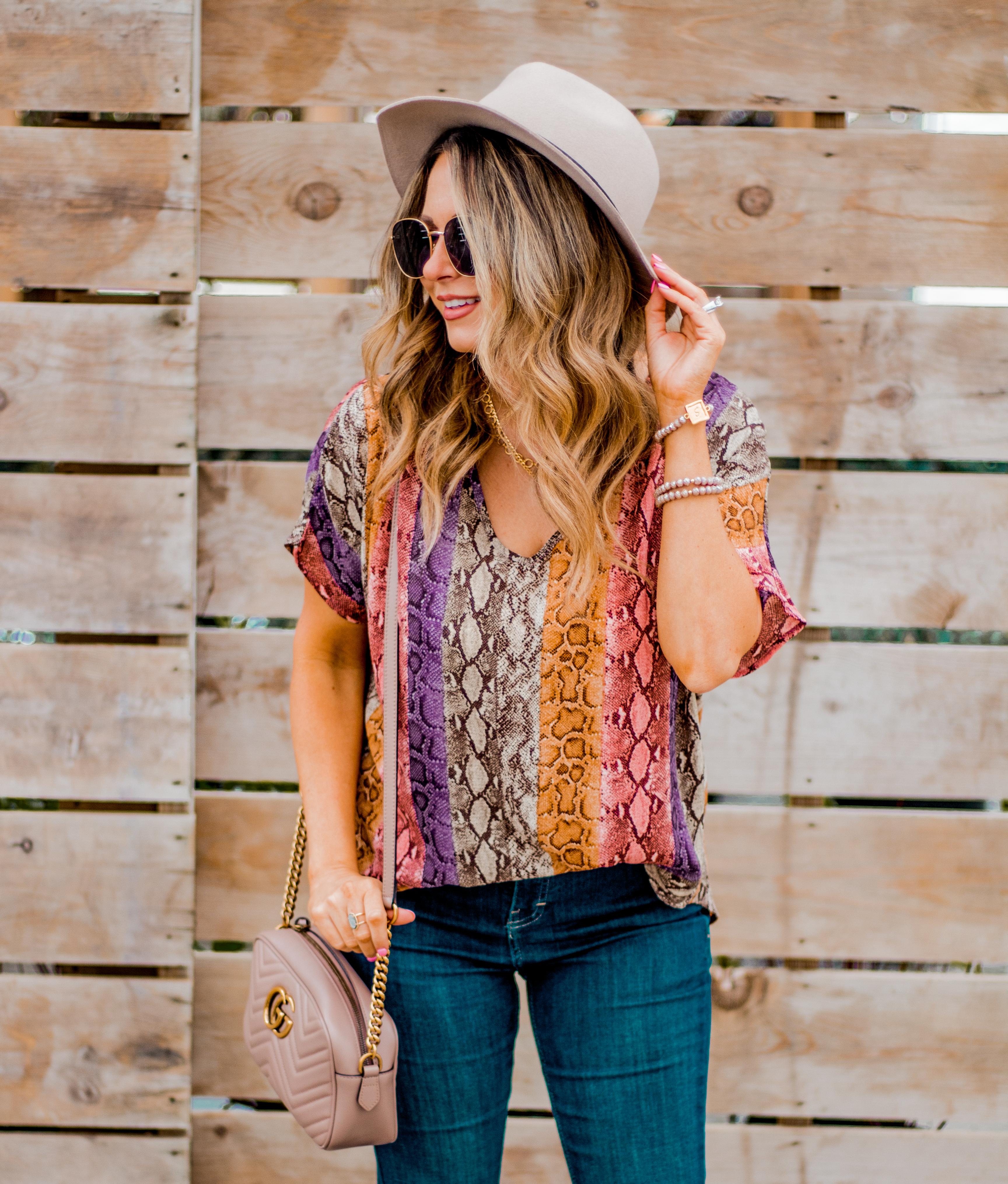 Women's Fashion - Snakeskin Print - Snakeskin Trend - Spring Fashion Trend - Omaha Fashion Blog - Boho Vibes - Flare Jeans - 16