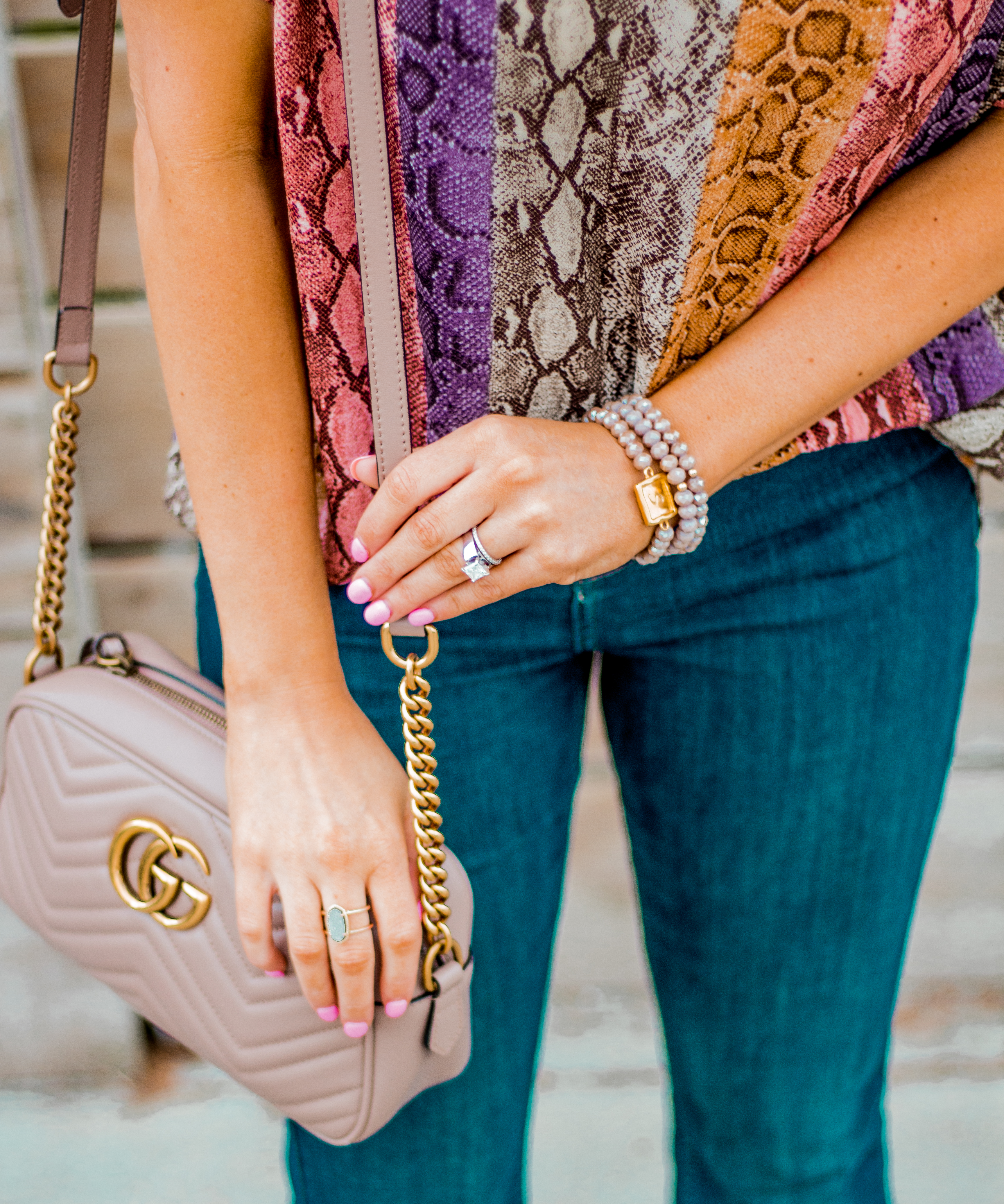 Women's Fashion - Snakeskin Print - Snakeskin Trend - Spring Fashion Trend - Omaha Fashion Blog - Boho Vibes - Flare Jeans - Gucci Bag - Taudrey Jewelry - Sabby Style Bracelet Set