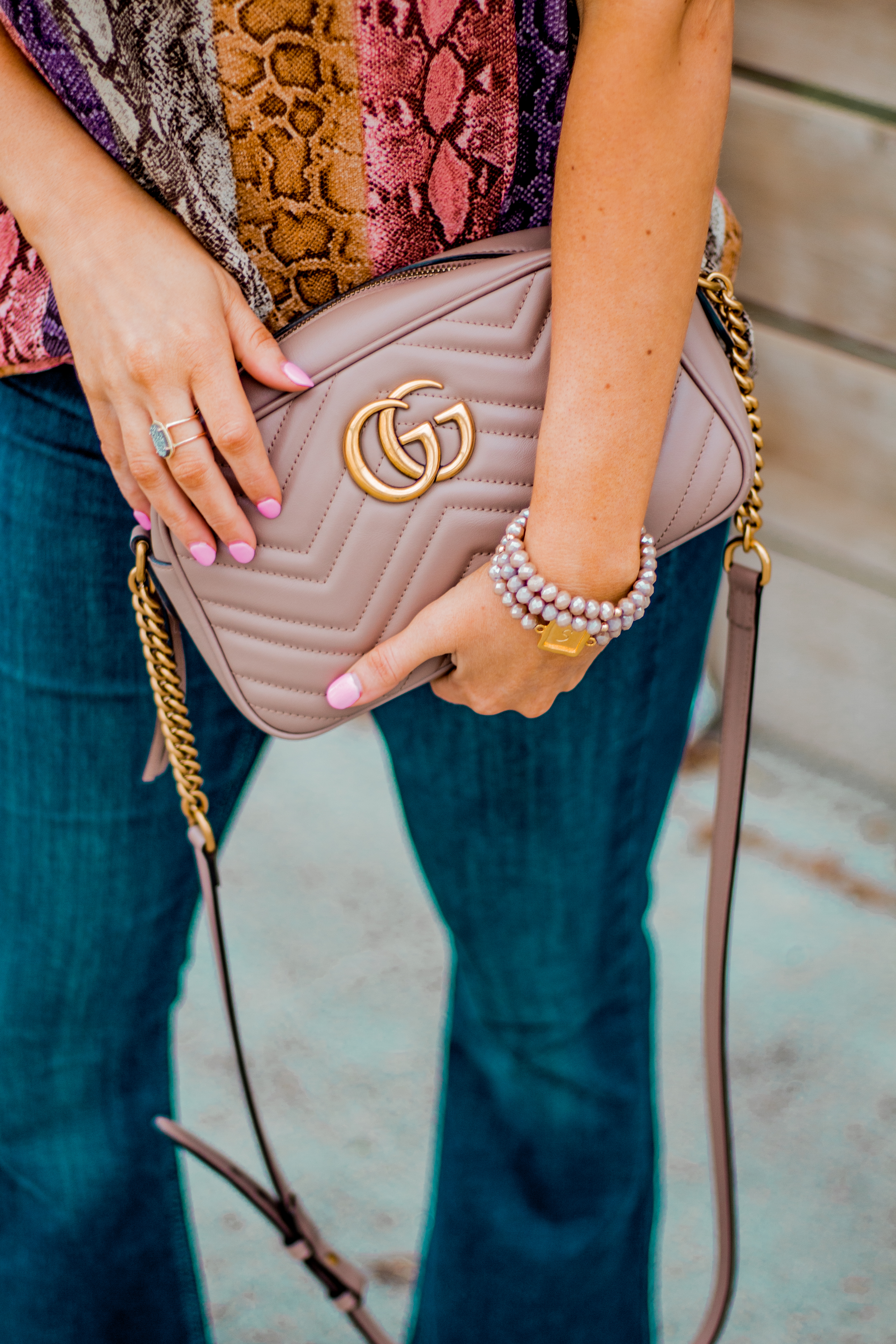 Women's Fashion - Snakeskin Print - Snakeskin Trend - Spring Fashion Trend - Omaha Fashion Blog - Boho Vibes - Flare Jeans - Gucci Camera Bag - Taudrey Jewelry - Sabby Style Bracelet Set
