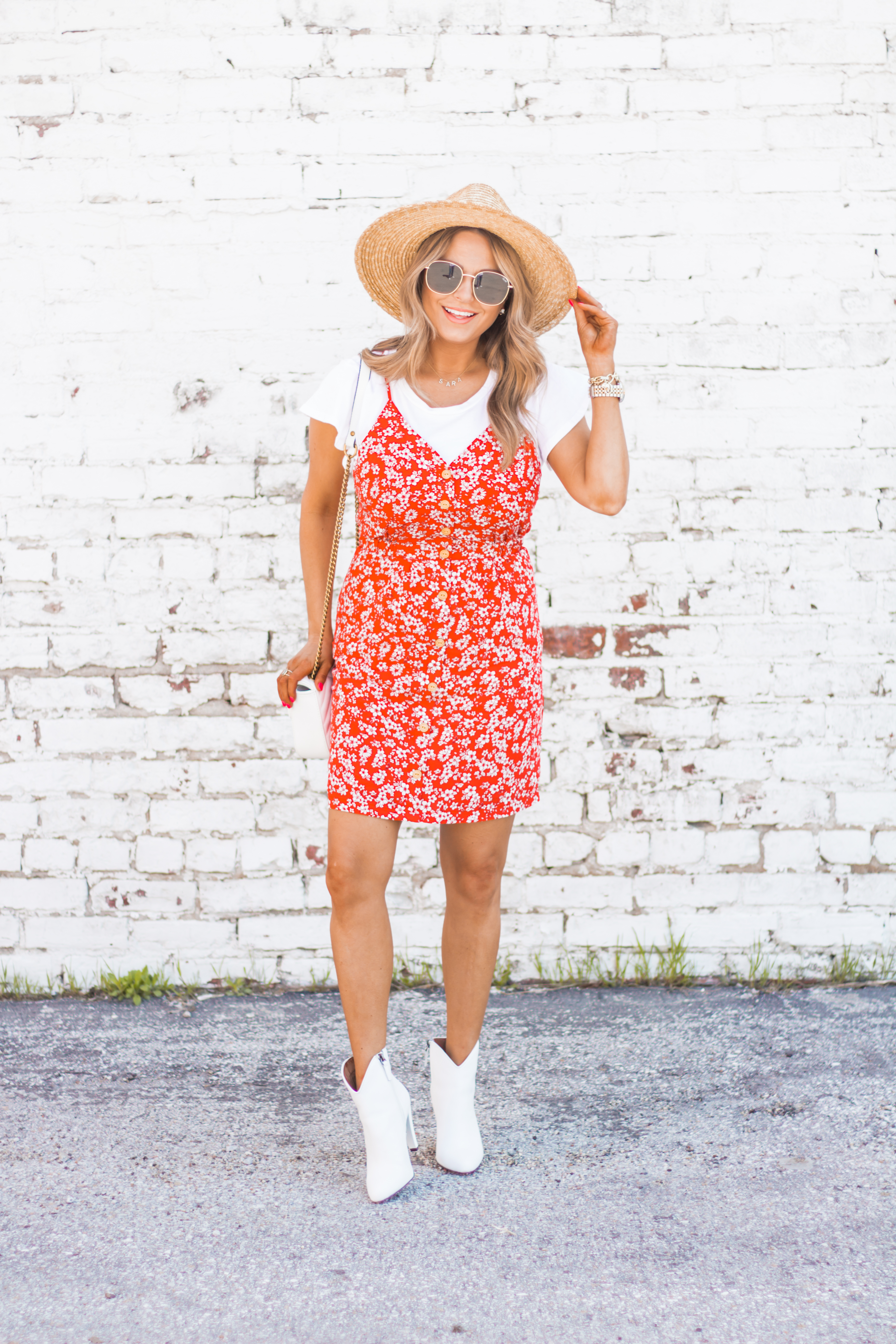 red-sundress-spring-summer-dress-floral dress-women's fashion- spring fashion-summer fashion-brixton hat-white booties-Omaha blogger-sabby style-6