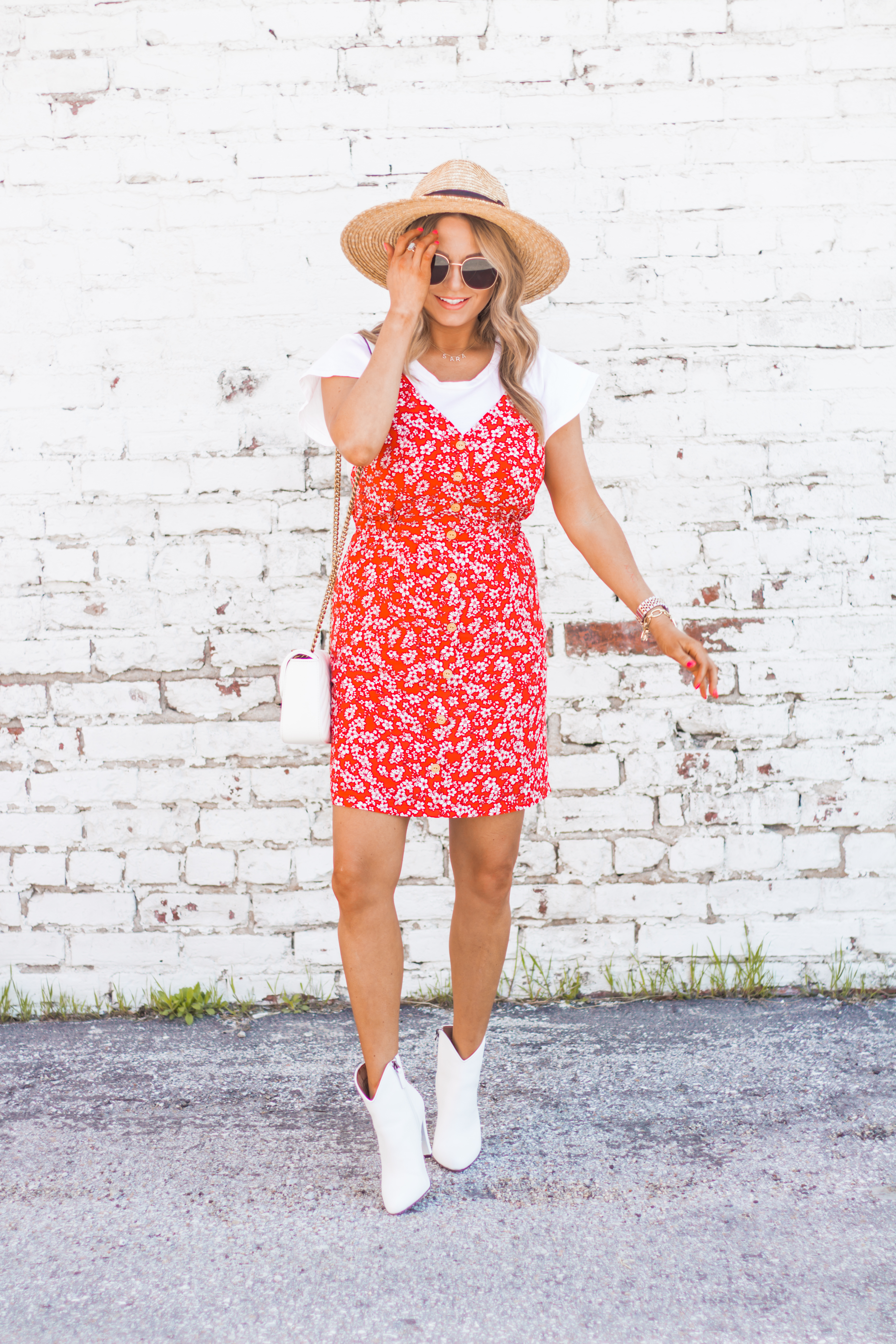 red-sundress-spring-summer-dress-floral dress-women's fashion- spring fashion-summer fashion-brixton hat-white booties-Omaha blogger-sabby style-4