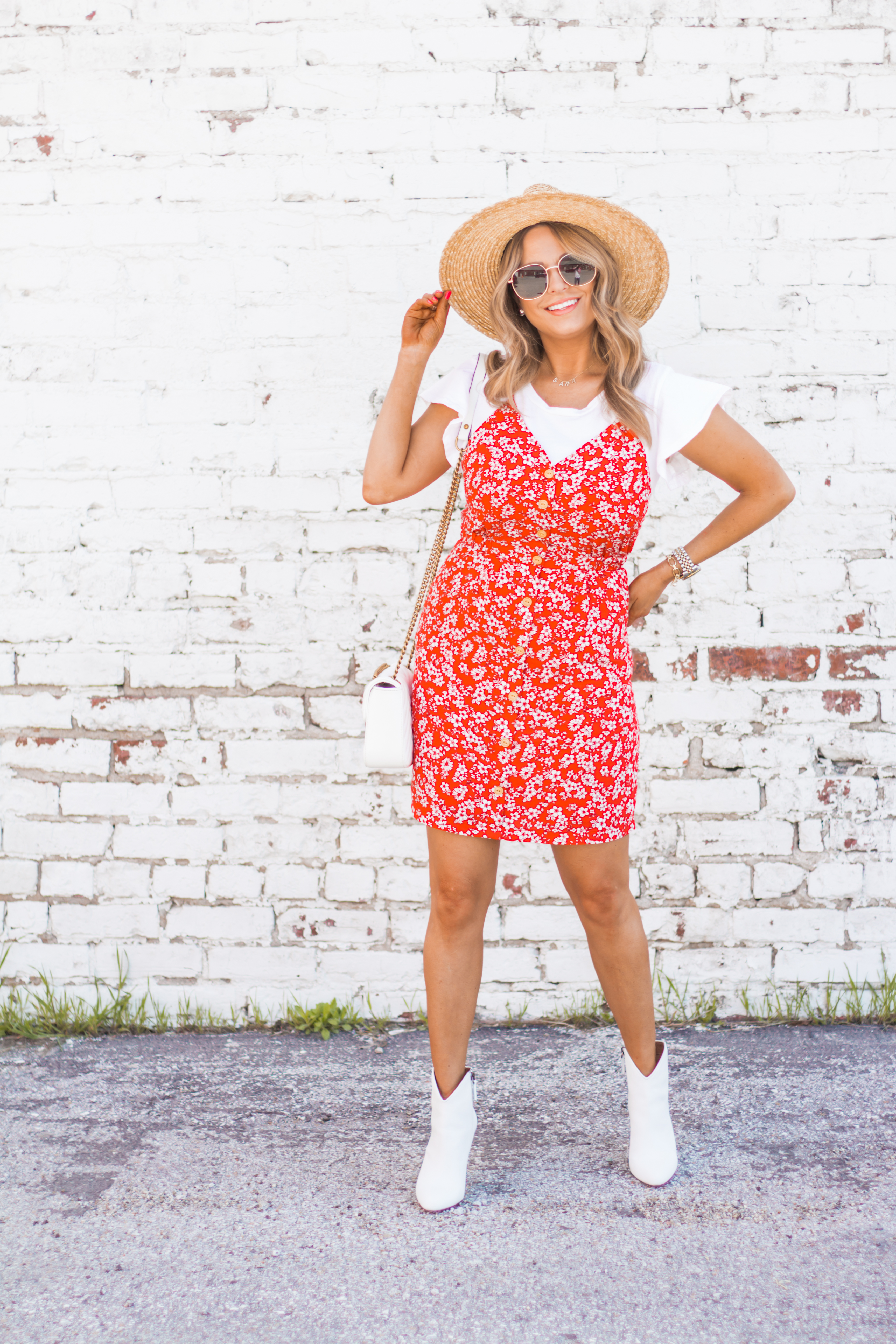 red-sundress-spring-summer-dress-floral dress-women's fashion- spring fashion-summer fashion-brixton hat-white booties-Omaha blogger-sabby style-7