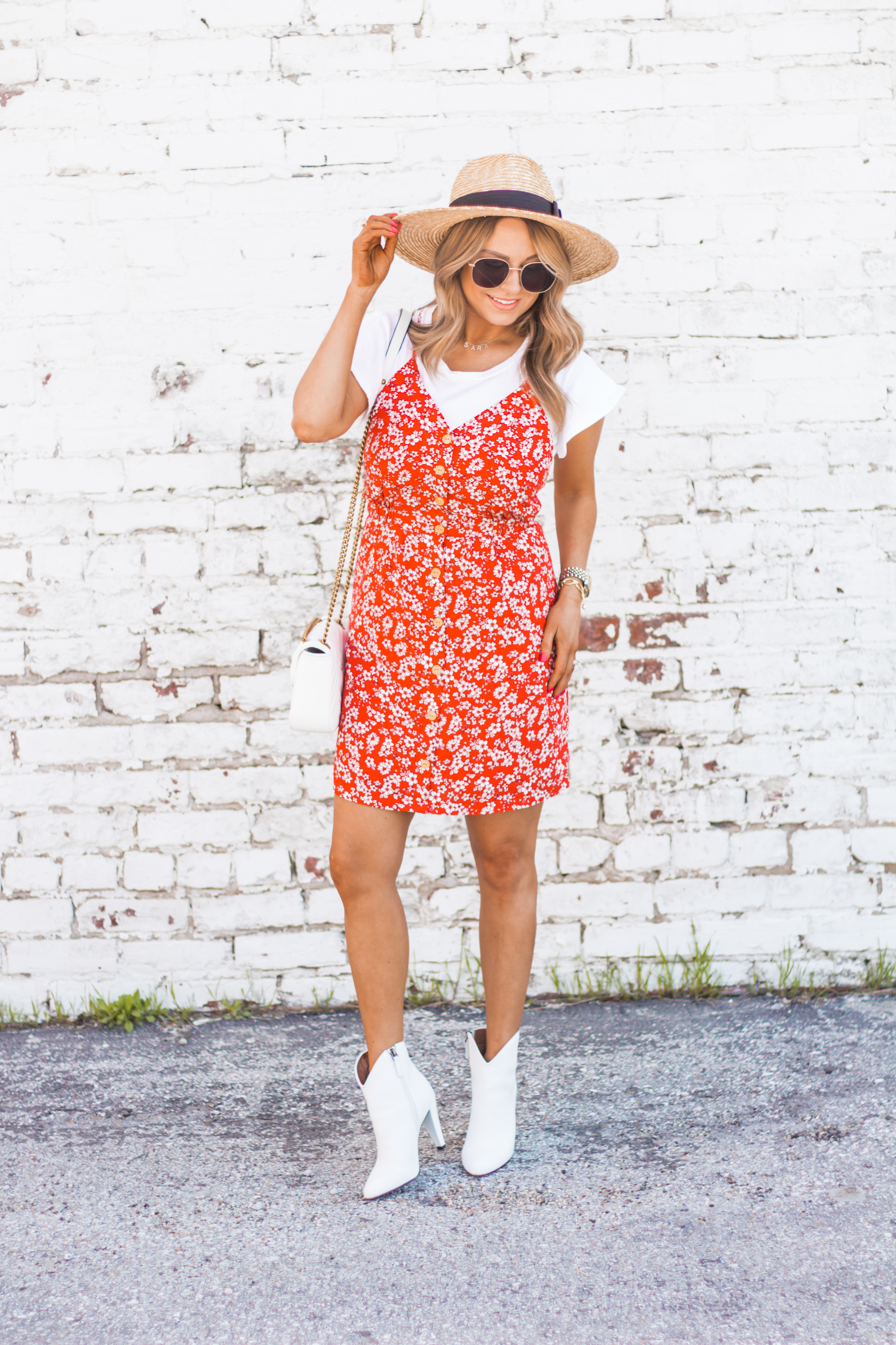 red-sundress-spring-summer-dress-floral dress-women's fashion- spring fashion-summer fashion-brixton hat-white booties-Omaha blogger-sabby style-2