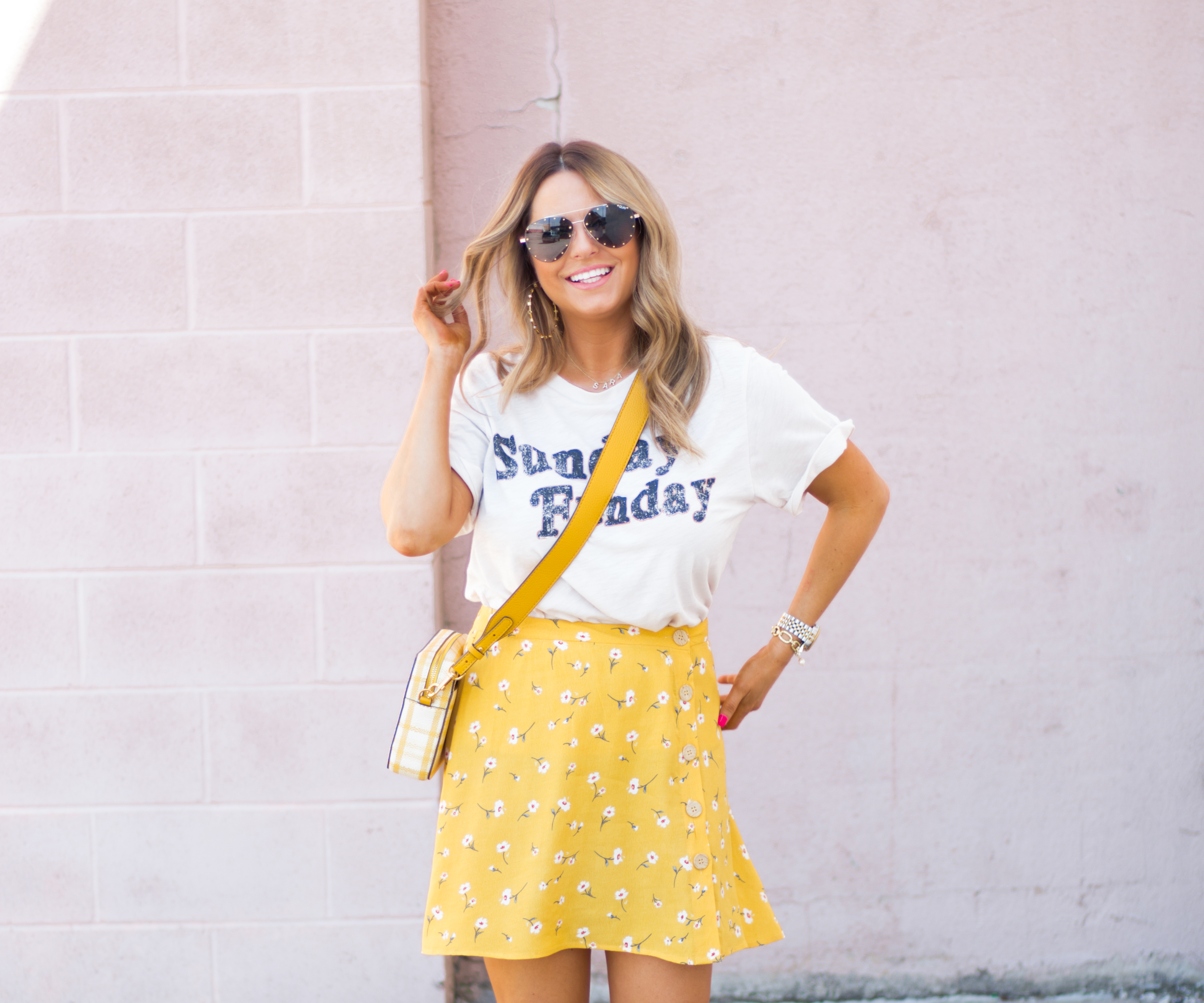 Sunday Funday-Graphic Tee-Floral Skirt-Mini Skirt-Spring Fashion-Spring Style-Tory Burch Purse-Quay Sunglasses-Tan Wedges-Espadrilles-Yellow-Colorful Style-Sabby Style-Women's Fashion-Omaha Blog-Omaha Blogger-12