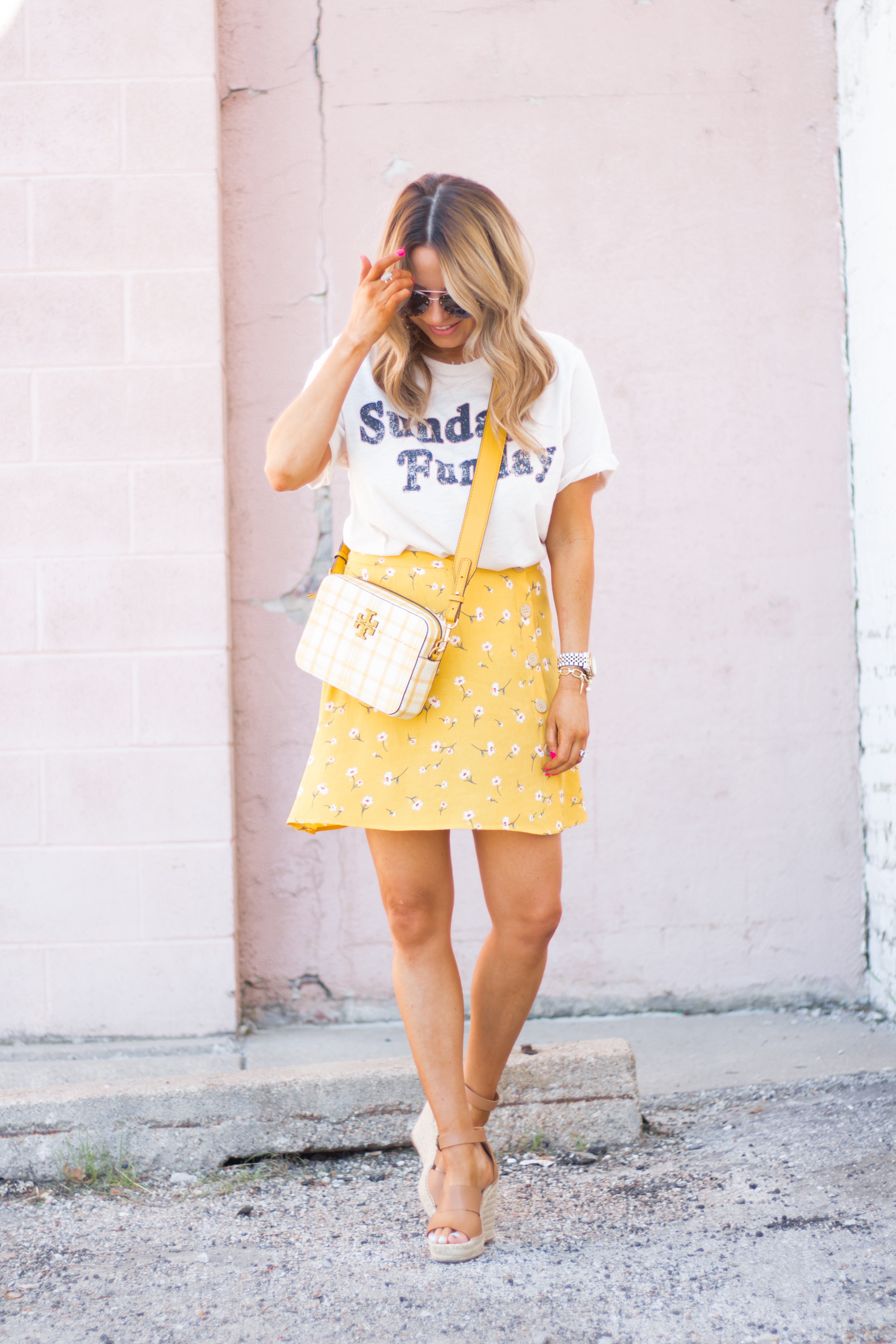 Sunday Funday-Graphic Tee-Floral Skirt-Mini Skirt-Spring Fashion-Spring Style-Tory Burch Purse-Quay Sunglasses-Tan Wedges-Espadrilles-Yellow-Colorful Style-Sabby Style-Women's Fashion-Omaha Blog-Omaha Blogger-3