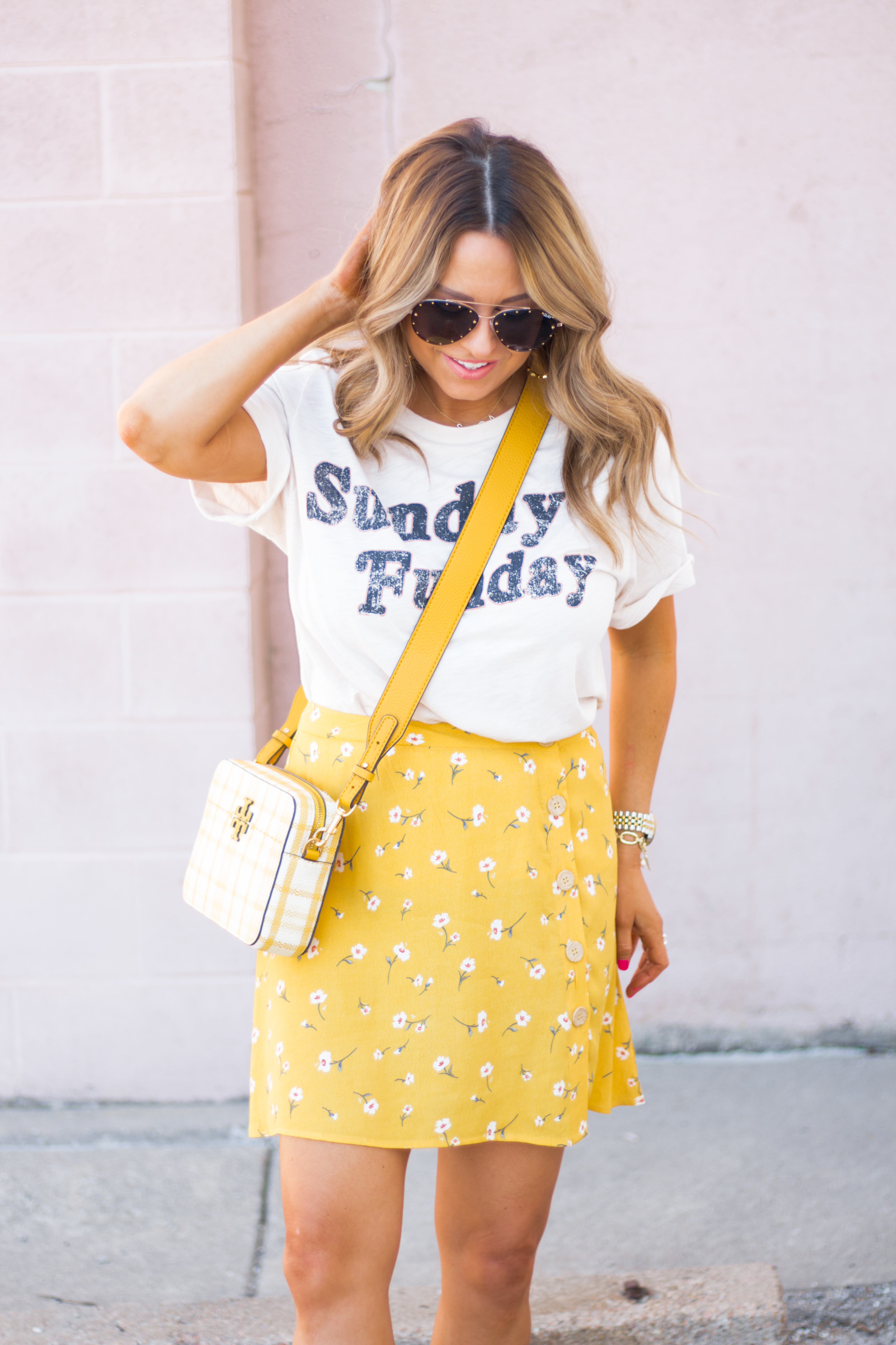 Sunday Funday-Graphic Tee-Floral Skirt-Mini Skirt-Spring Fashion-Spring Style-Tory Burch Purse-Quay Sunglasses-Tan Wedges-Espadrilles-Yellow-Colorful Style-Sabby Style-Women's Fashion-Omaha Blog-Omaha Blogger-11
