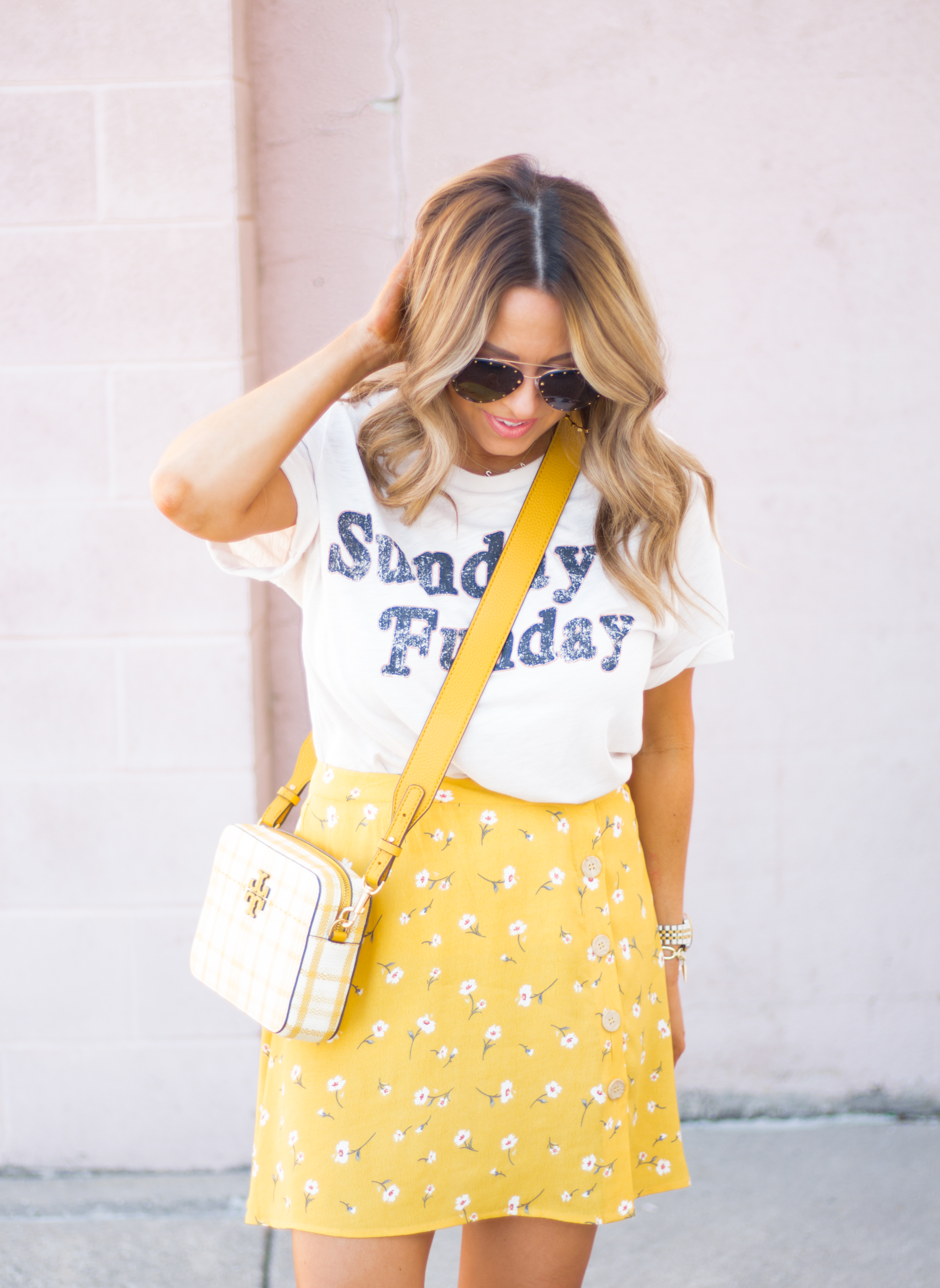 Sunday Funday-Graphic Tee-Floral Skirt-Mini Skirt-Spring Fashion-Spring Style-Tory Burch Purse-Quay Sunglasses-Tan Wedges-Espadrilles-Yellow-Colorful Style-Sabby Style-Women's Fashion-Omaha Blog-Omaha Blogger-6