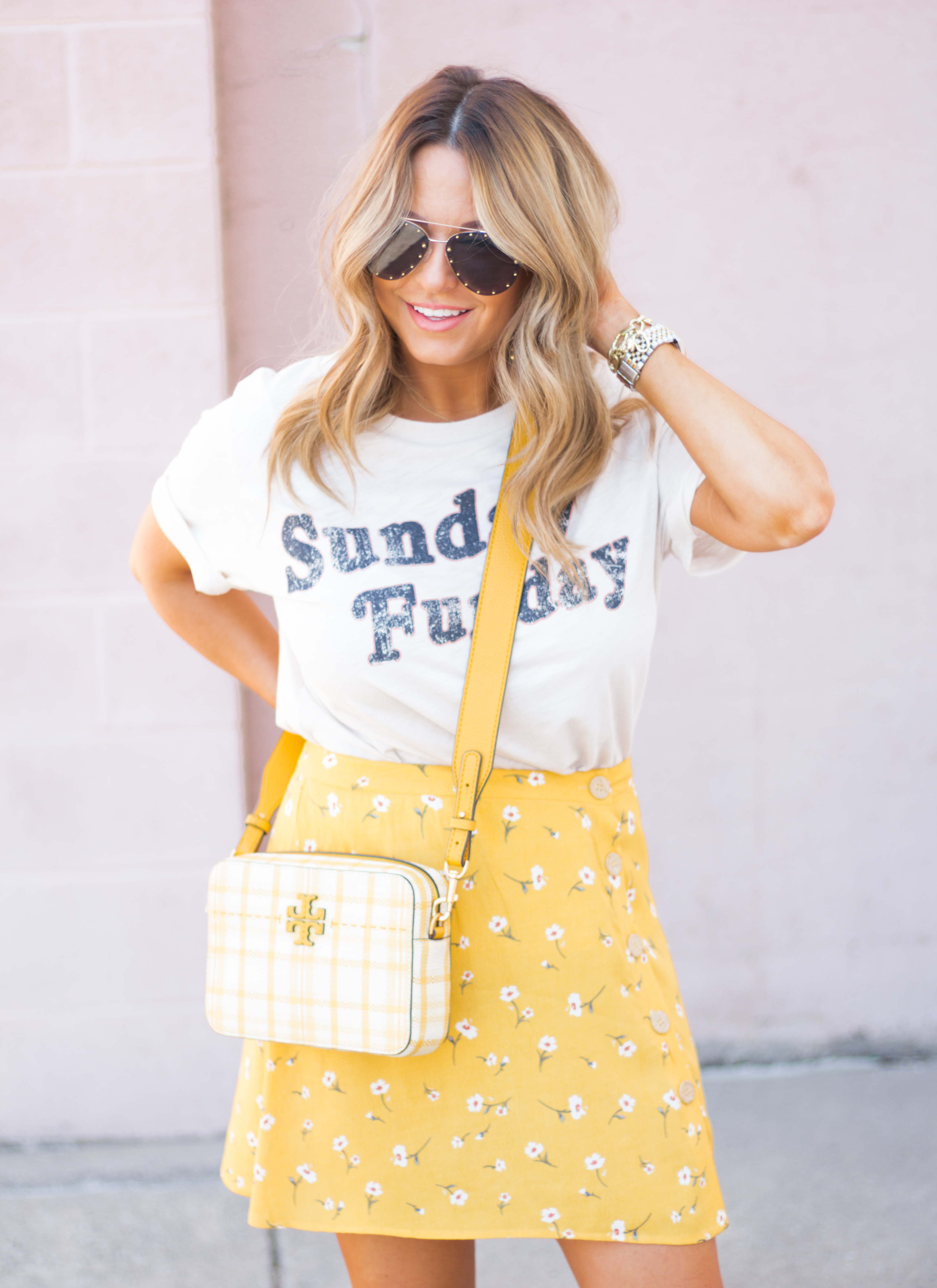 Sunday Funday-Graphic Tee-Floral Skirt-Mini Skirt-Spring Fashion-Spring Style-Tory Burch Purse-Quay Sunglasses-Tan Wedges-Espadrilles-Yellow-Colorful Style-Sabby Style-Women's Fashion-Omaha Blog-Omaha Blogger-5