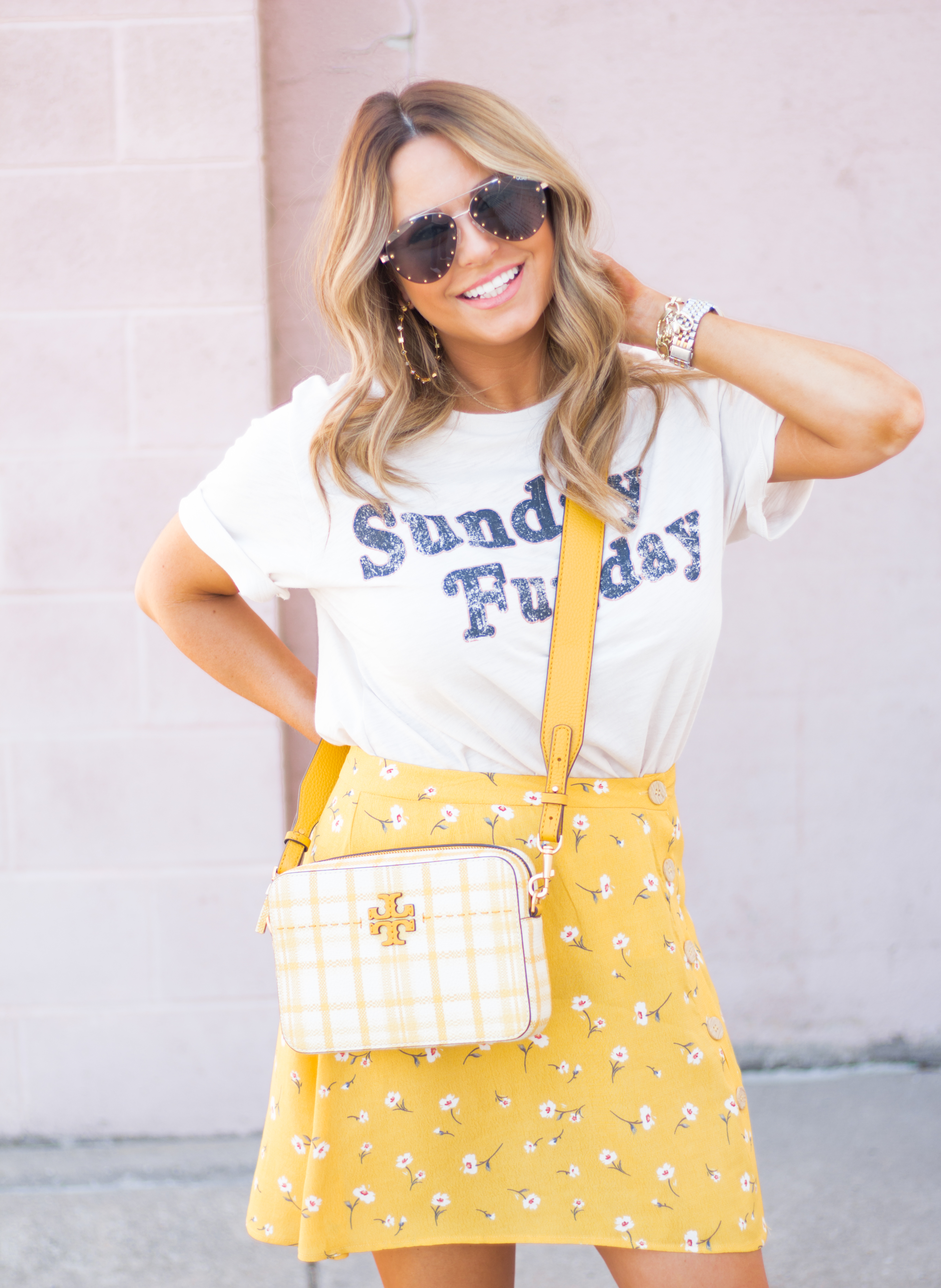 Sunday Funday-Graphic Tee-Floral Skirt-Mini Skirt-Spring Fashion-Spring Style-Tory Burch Purse-Quay Sunglasses-Tan Wedges-Espadrilles-Yellow-Colorful Style-Sabby Style-Women's Fashion-Omaha Blog-Omaha Blogger-9