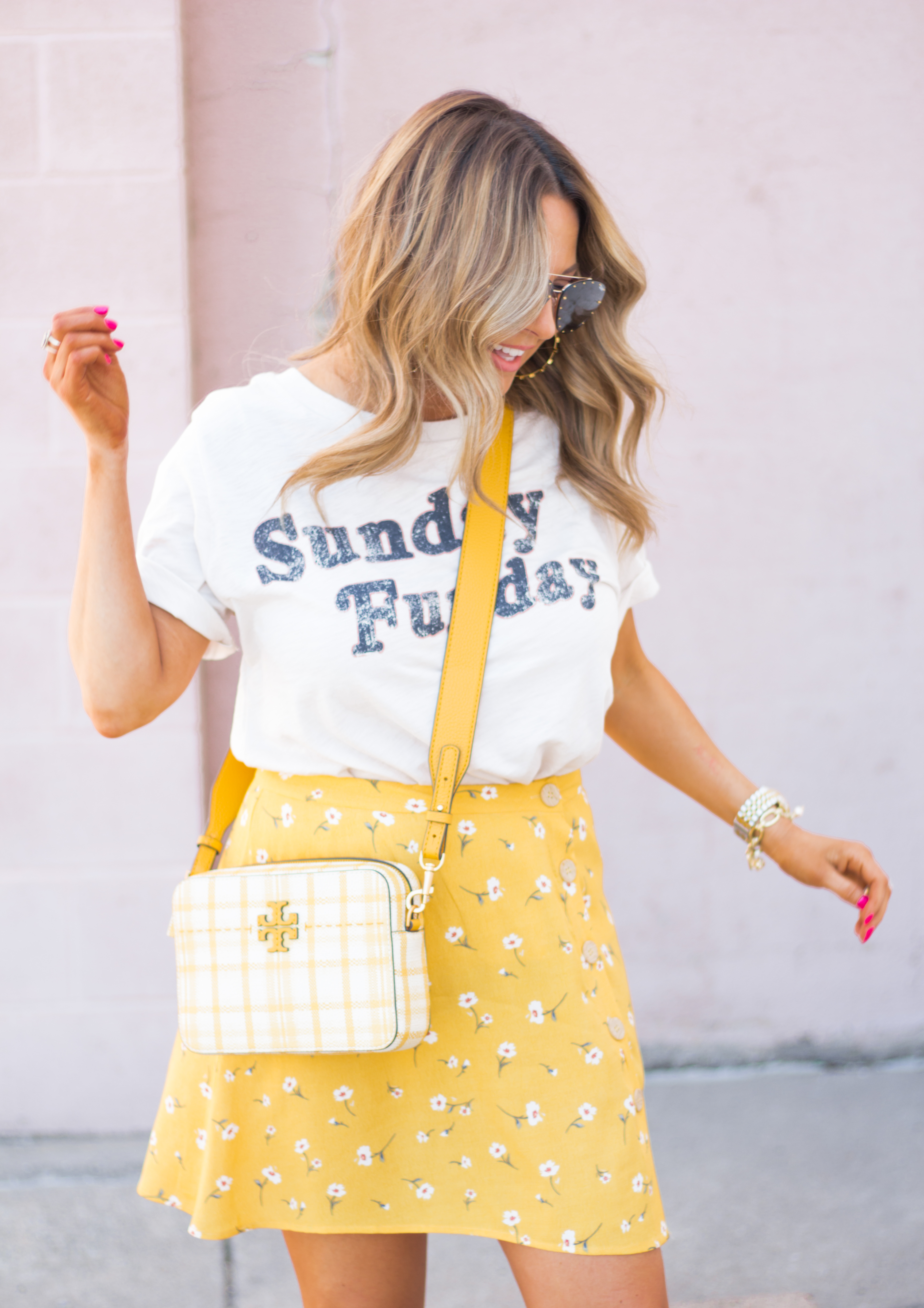 Sunday Funday-Graphic Tee-Floral Skirt-Mini Skirt-Spring Fashion-Spring Style-Tory Burch Purse-Quay Sunglasses-Tan Wedges-Espadrilles-Yellow-Colorful Style-Sabby Style-Women's Fashion-Omaha Blog-Omaha Blogger-2