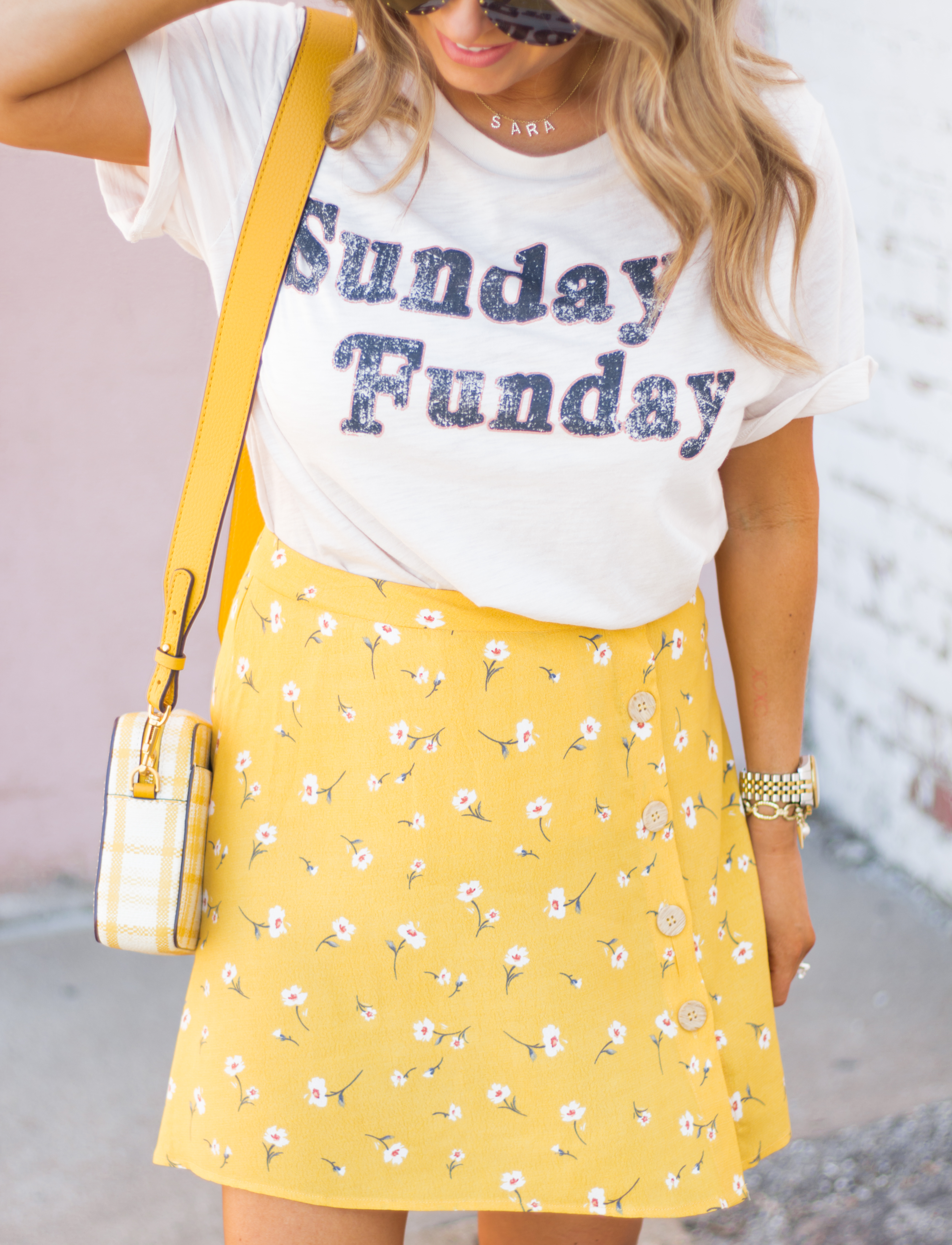 Sunday Funday-Graphic Tee-Floral Skirt-Mini Skirt-Spring Fashion-Spring Style-Tory Burch Purse-Quay Sunglasses-Tan Wedges-Espadrilles-Yellow-Colorful Style-Sabby Style-Women's Fashion-Omaha Blog-Omaha Blogger-8