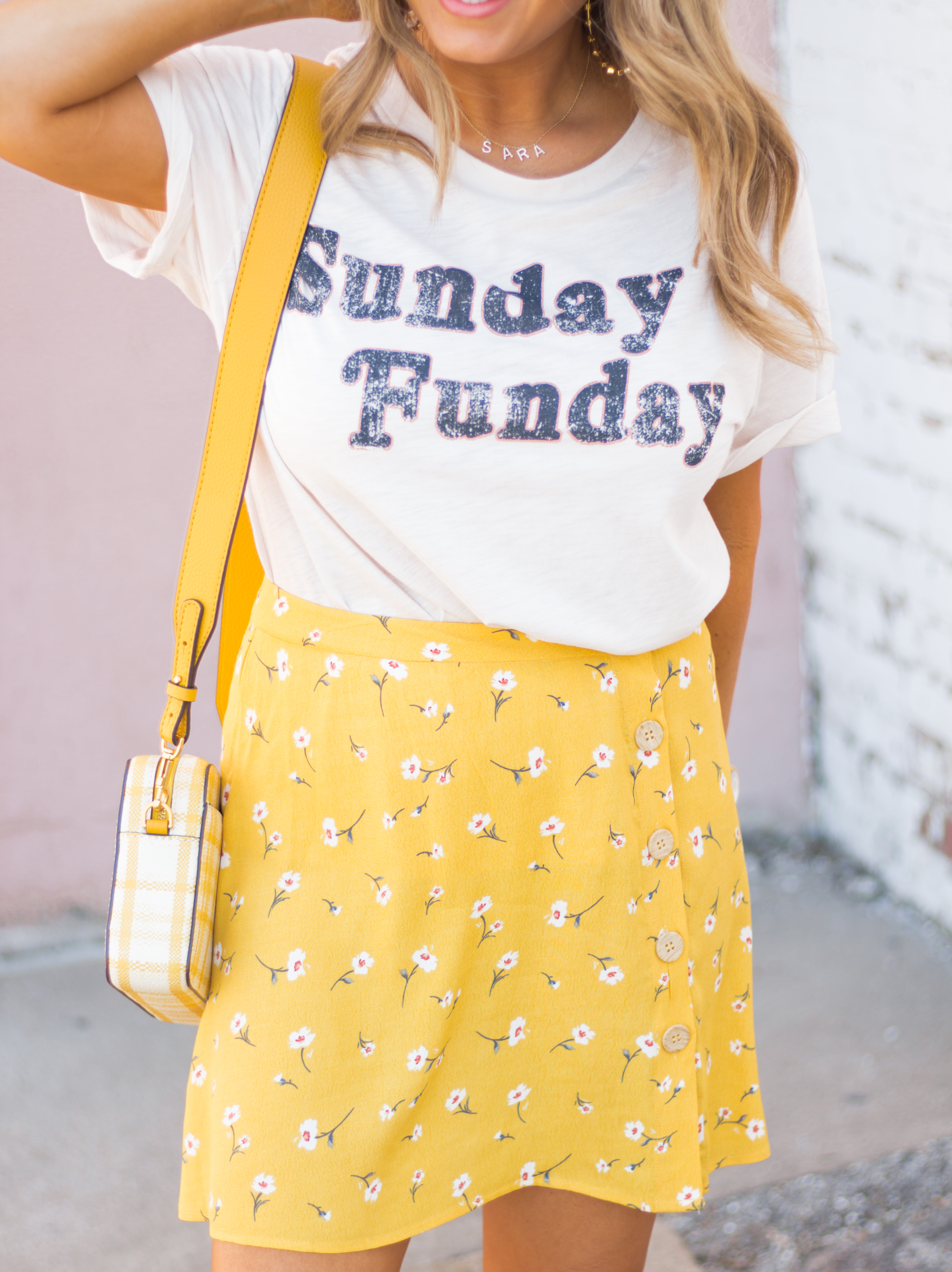 Sunday Funday-Graphic Tee-Floral Skirt-Mini Skirt-Spring Fashion-Spring Style-Tory Burch Purse-Quay Sunglasses-Tan Wedges-Espadrilles-Yellow-Colorful Style-Sabby Style-Women's Fashion-Omaha Blog-Omaha Blogger-1