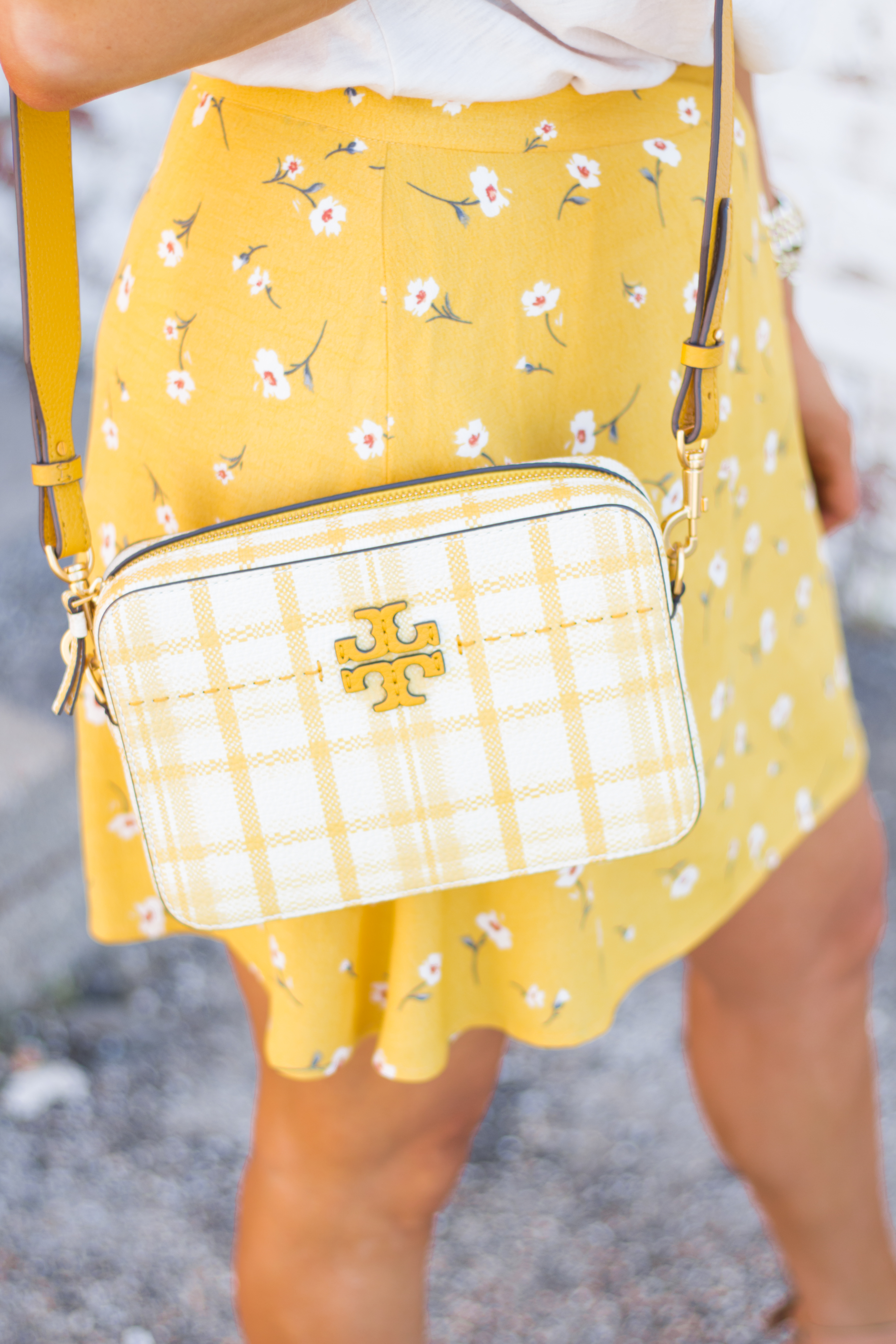 Sunday Funday-Graphic Tee-Floral Skirt-Mini Skirt-Spring Fashion-Spring Style-Tory Burch Purse-Quay Sunglasses-Tan Wedges-Espadrilles-Yellow-Colorful Style-Sabby Style-Women's Fashion-Omaha Blog-Omaha Blogger-4