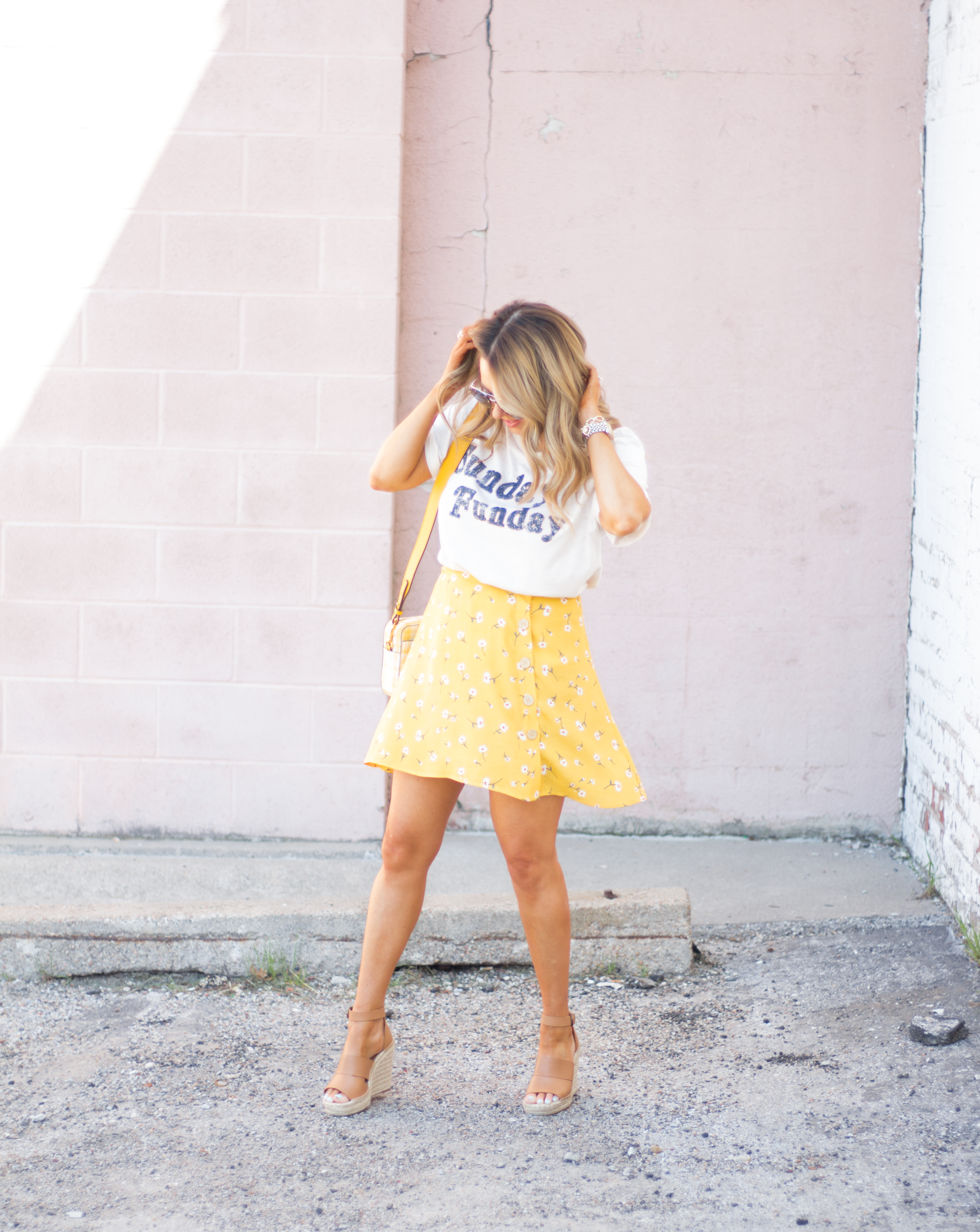 Sunday Funday-Graphic Tee-Floral Skirt-Mini Skirt-Spring Fashion-Spring Style-Tory Burch Purse-Quay Sunglasses-Tan Wedges-Espadrilles-Yellow-Colorful Style-Sabby Style-Women's Fashion-Omaha Blog-Omaha Blogger-7