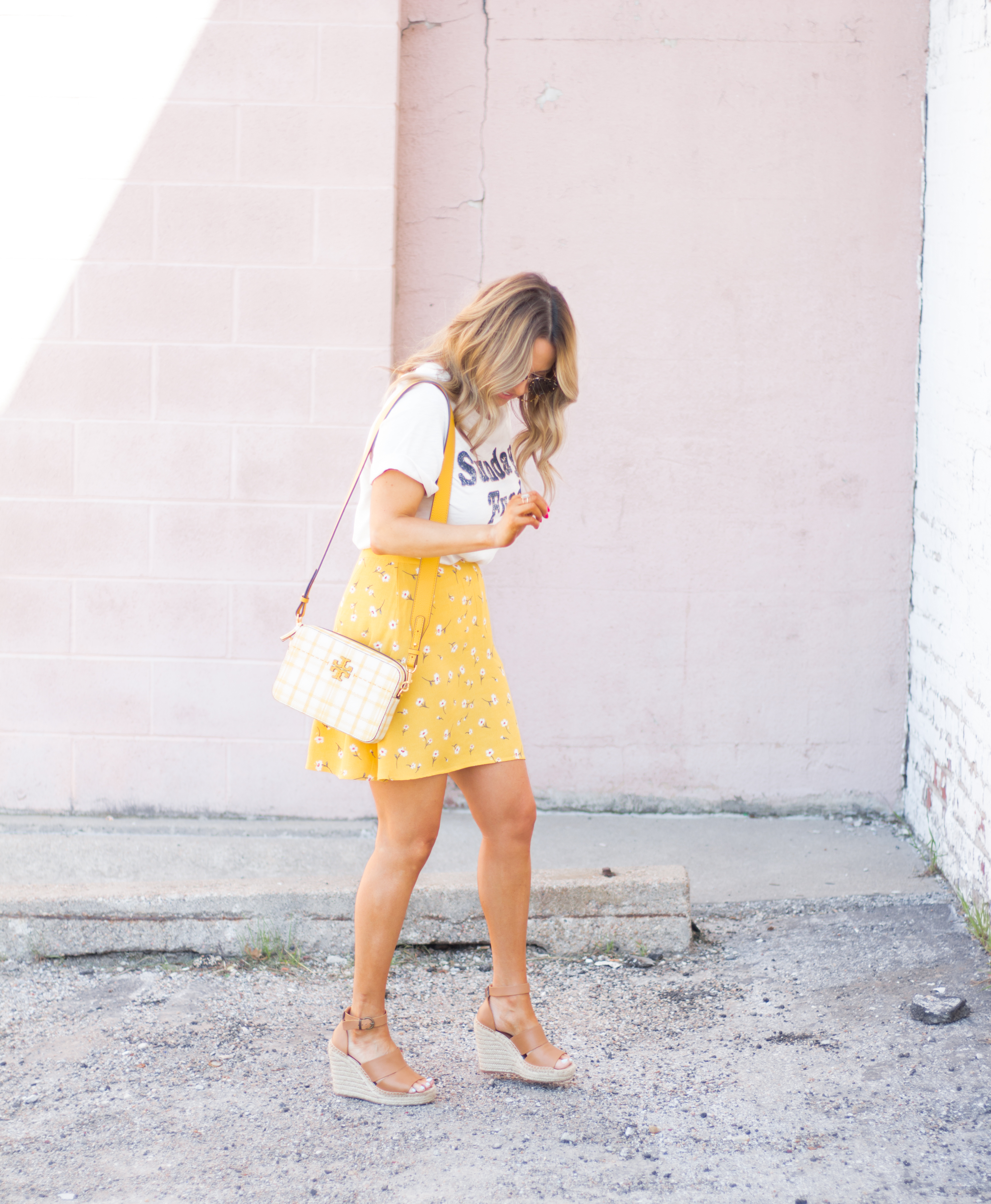 Sunday Funday-Graphic Tee-Floral Skirt-Mini Skirt-Spring Fashion-Spring Style-Tory Burch Purse-Quay Sunglasses-Tan Wedges-Espadrilles-Yellow-Colorful Style-Sabby Style-Women's Fashion-Omaha Blog-Omaha Blogger-10