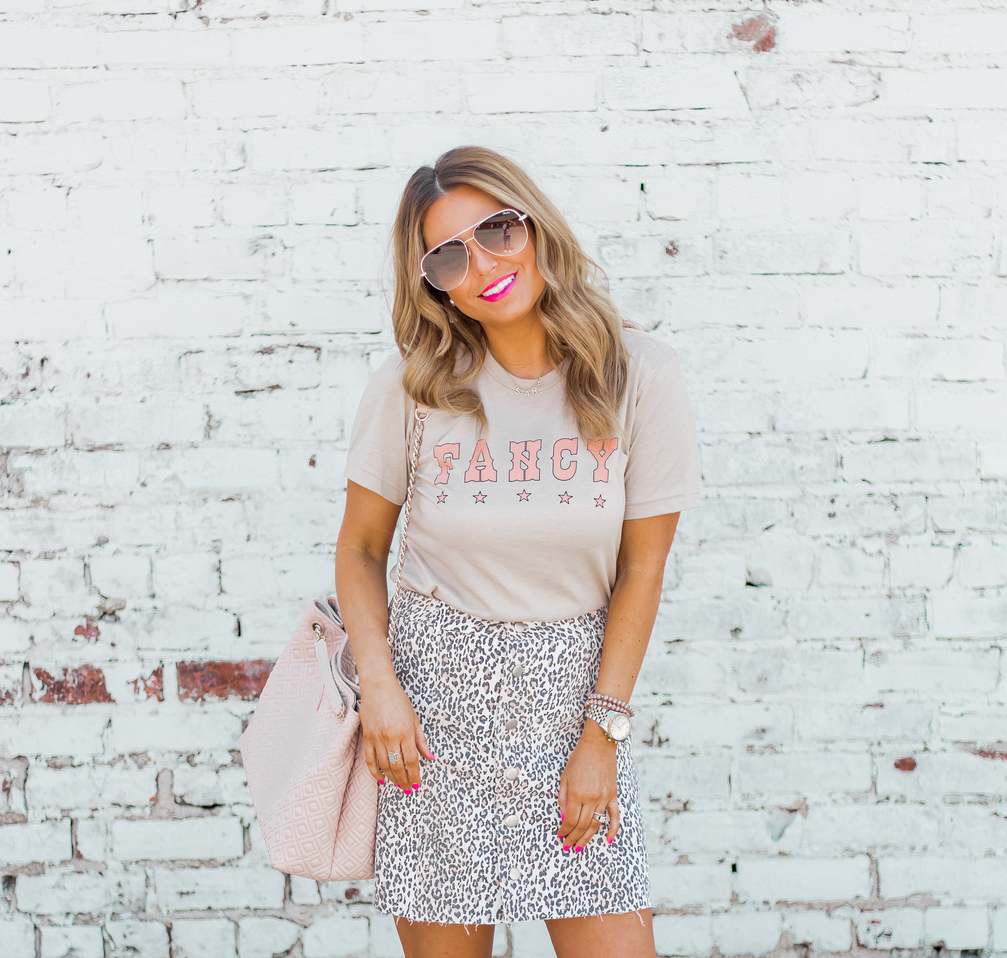 Fancy Graphic Tee-Leopard Skirt-Sugar Boutique-$250 Gift Card Giveaway-Tory Burch Fleming Bag-Quay Sunglasses-Sabby Style-Omaha Blogger-Women's Fashion-Spring Fashion-Summer Outfit-12
