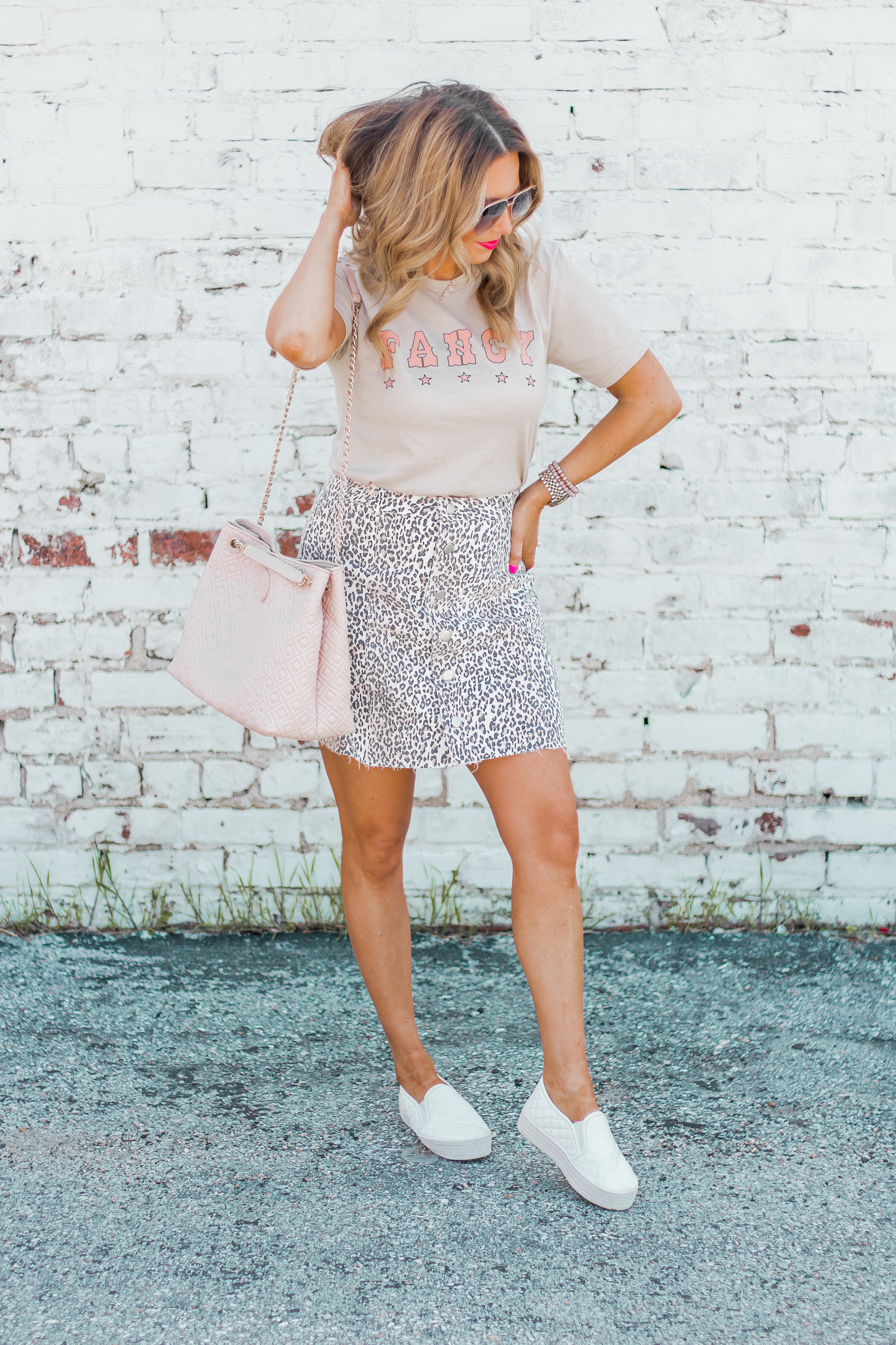 Fancy Graphic Tee-Leopard Skirt-Sugar Boutique-$250 Gift Card Giveaway-Tory Burch Fleming Bag-Quay Sunglasses-Sabby Style-Omaha Blogger-Women's Fashion-Spring Fashion-Summer Outfit-2