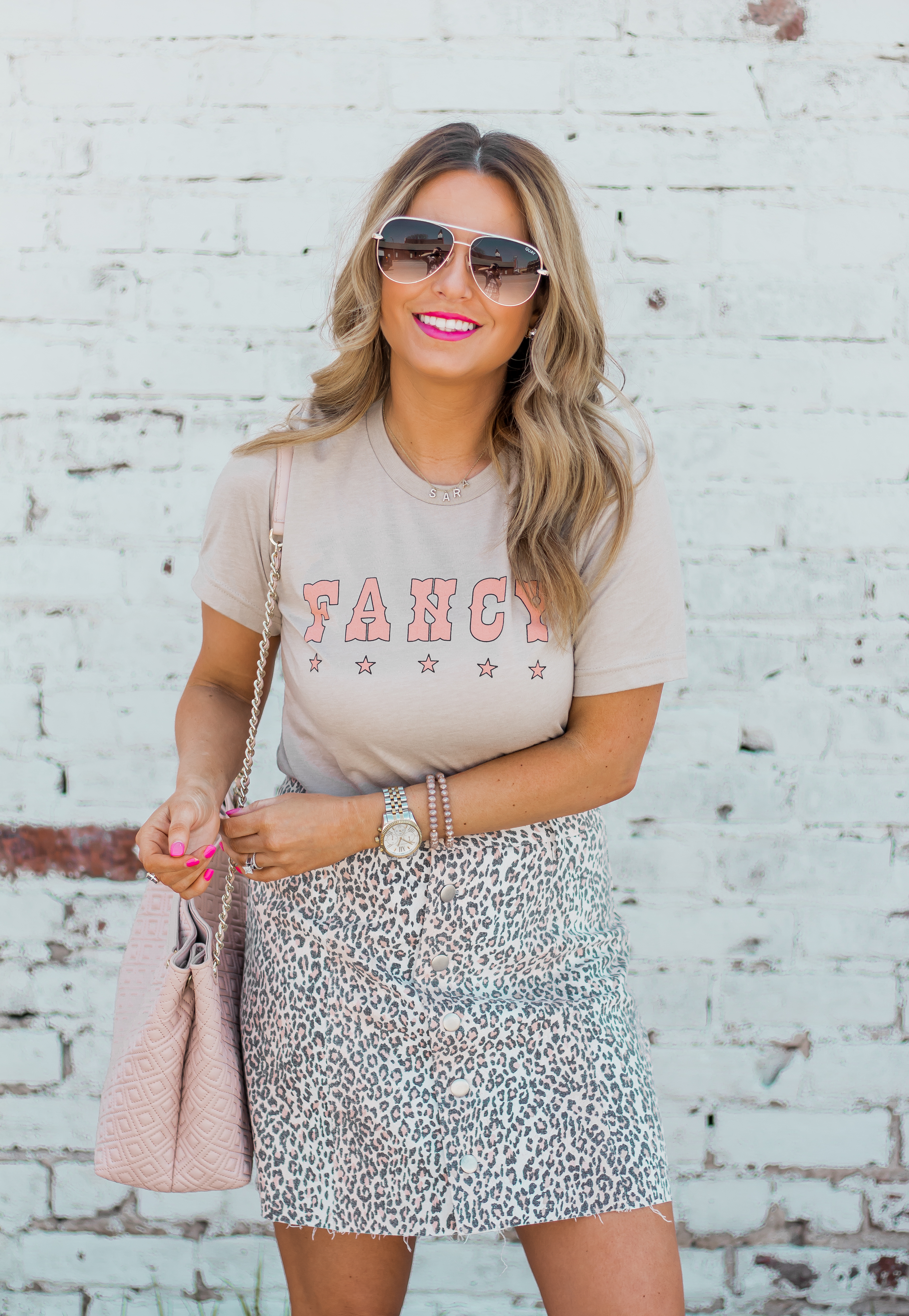 Fancy Graphic Tee-Leopard Skirt-Sugar Boutique-$250 Gift Card Giveaway-Tory Burch Fleming Bag-Quay Sunglasses-Sabby Style-Omaha Blogger-Women's Fashion-Spring Fashion-Summer Outfit-1