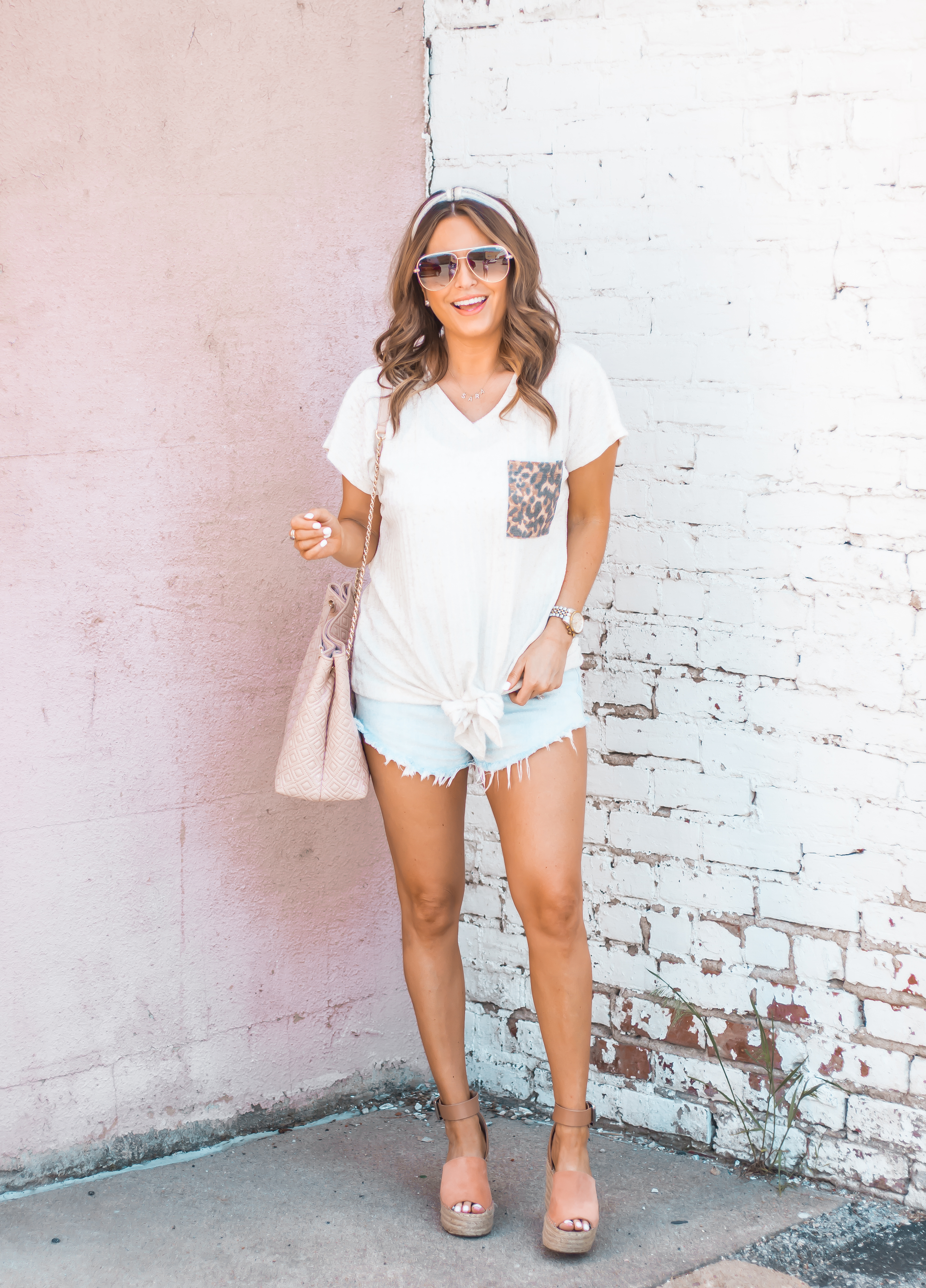 Women's Fashion-Summer Fashion-Summer Outfit Inspiration-Sabby Style-Omaha Blogger-Leopard Pocket Top-The Style Bar Boutique-Cutoff Shorts-Espadrille Wedges-Marc Fisher Wedges-Tory Burch Fleming-Quay Sunglasses-Headband Trend-Omaha-Nebraska-Midwest Blogger-18