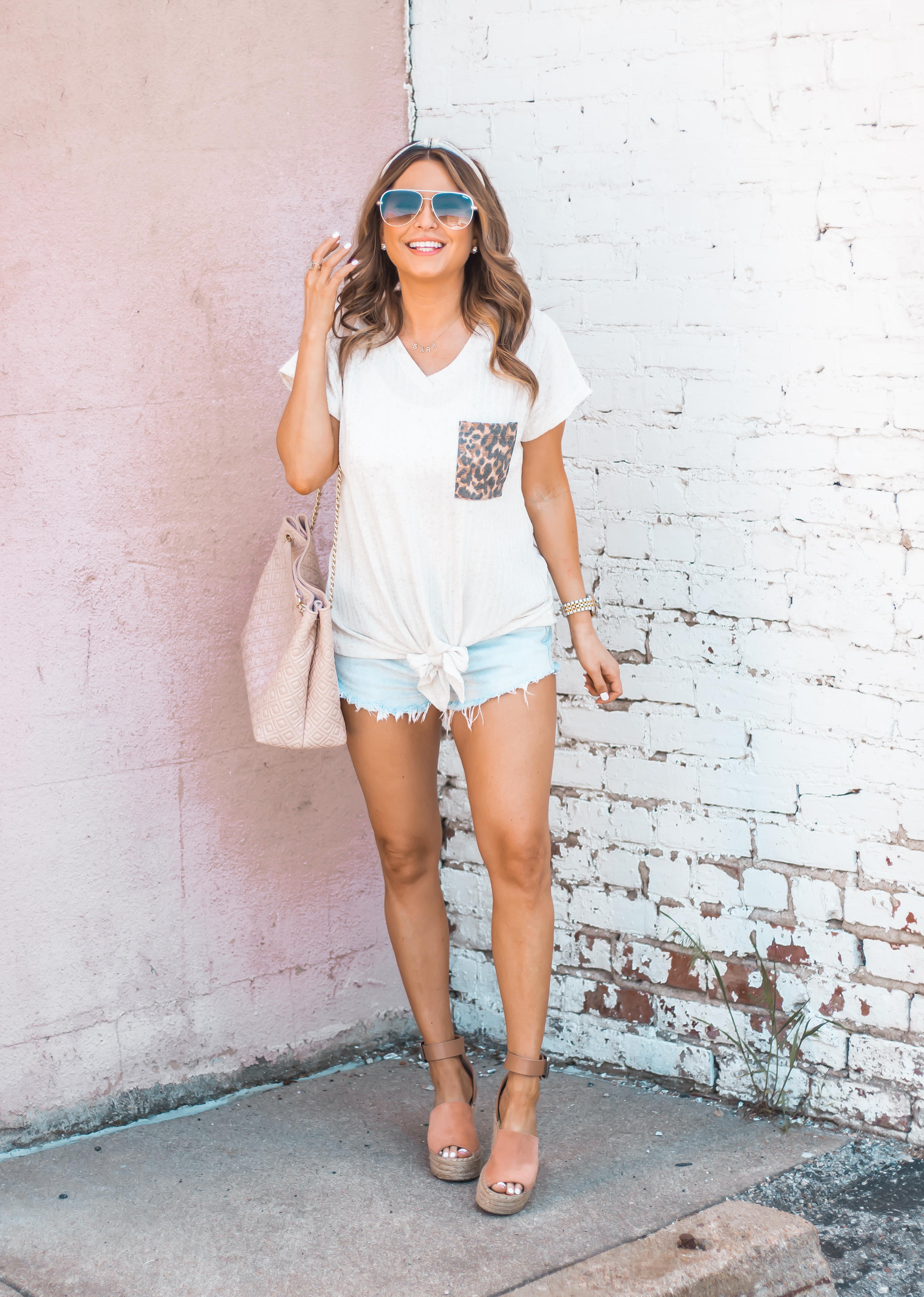 Women's Fashion-Summer Fashion-Summer Outfit Inspiration-Sabby Style-Omaha Blogger-Leopard Pocket Top-The Style Bar Boutique-Cutoff Shorts-Espadrille Wedges-Marc Fisher Wedges-Tory Burch Fleming-Quay Sunglasses-Headband Trend-Omaha-Nebraska-Midwest Blogger-3