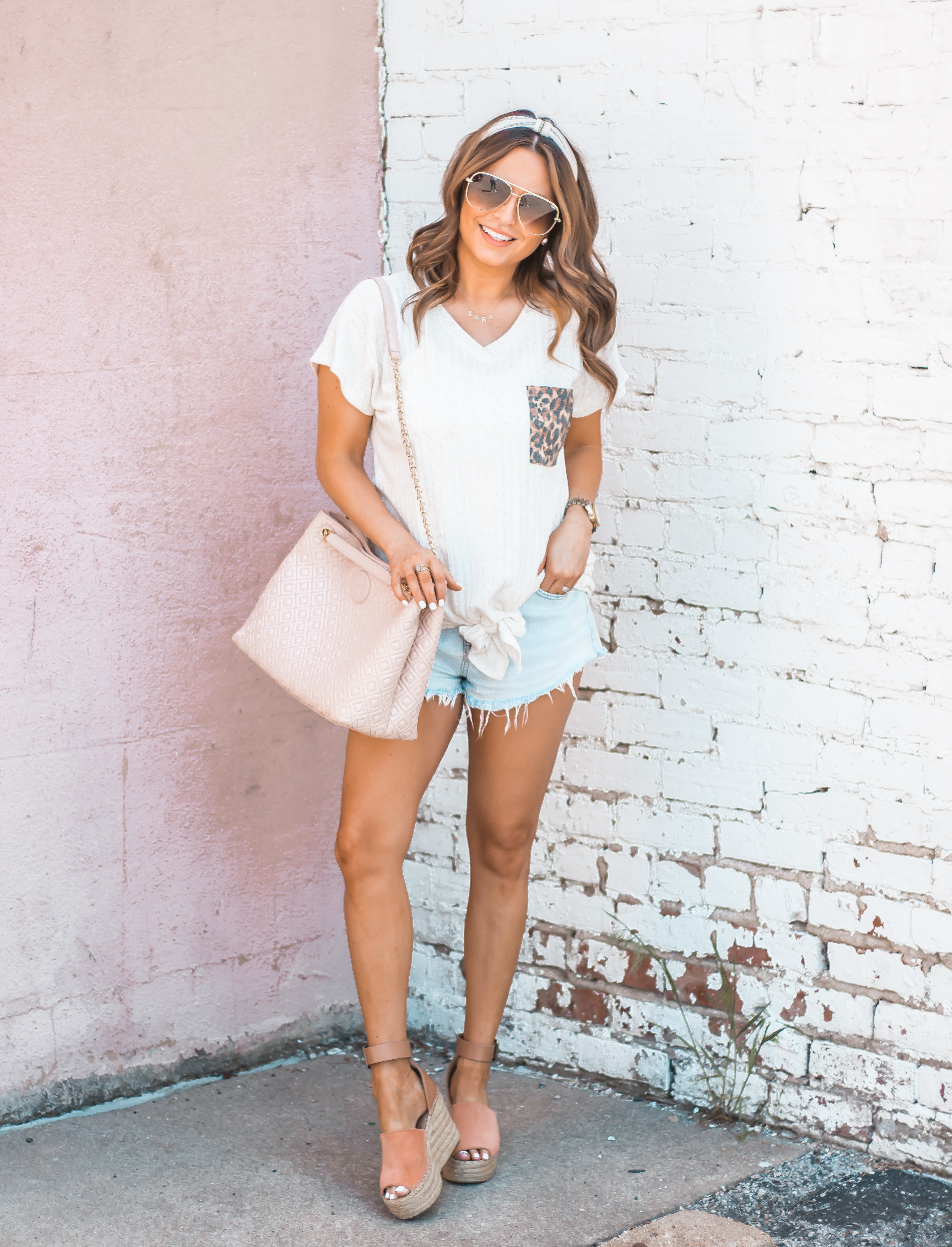 Women's Fashion-Summer Fashion-Summer Outfit Inspiration-Sabby Style-Omaha Blogger-Leopard Pocket Top-The Style Bar Boutique-Cutoff Shorts-Espadrille Wedges-Marc Fisher Wedges-Tory Burch Fleming-Quay Sunglasses-Headband Trend-Omaha-Nebraska-Midwest Blogger-5