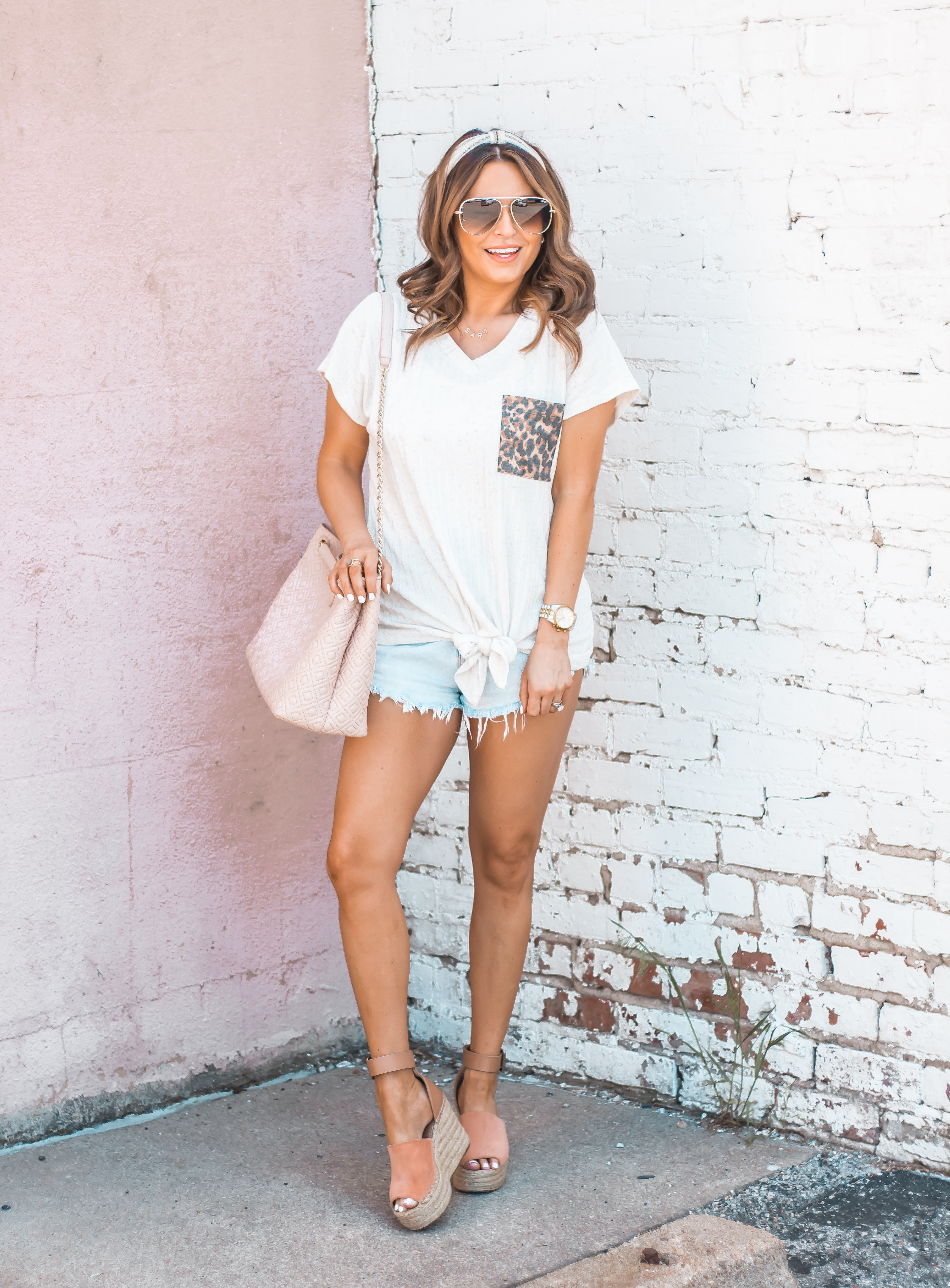 Women's Fashion-Summer Fashion-Summer Outfit Inspiration-Sabby Style-Omaha Blogger-Leopard Pocket Top-The Style Bar Boutique-Cutoff Shorts-Espadrille Wedges-Marc Fisher Wedges-Tory Burch Fleming-Quay Sunglasses-Headband Trend-Omaha-Nebraska-Midwest Blogger-14