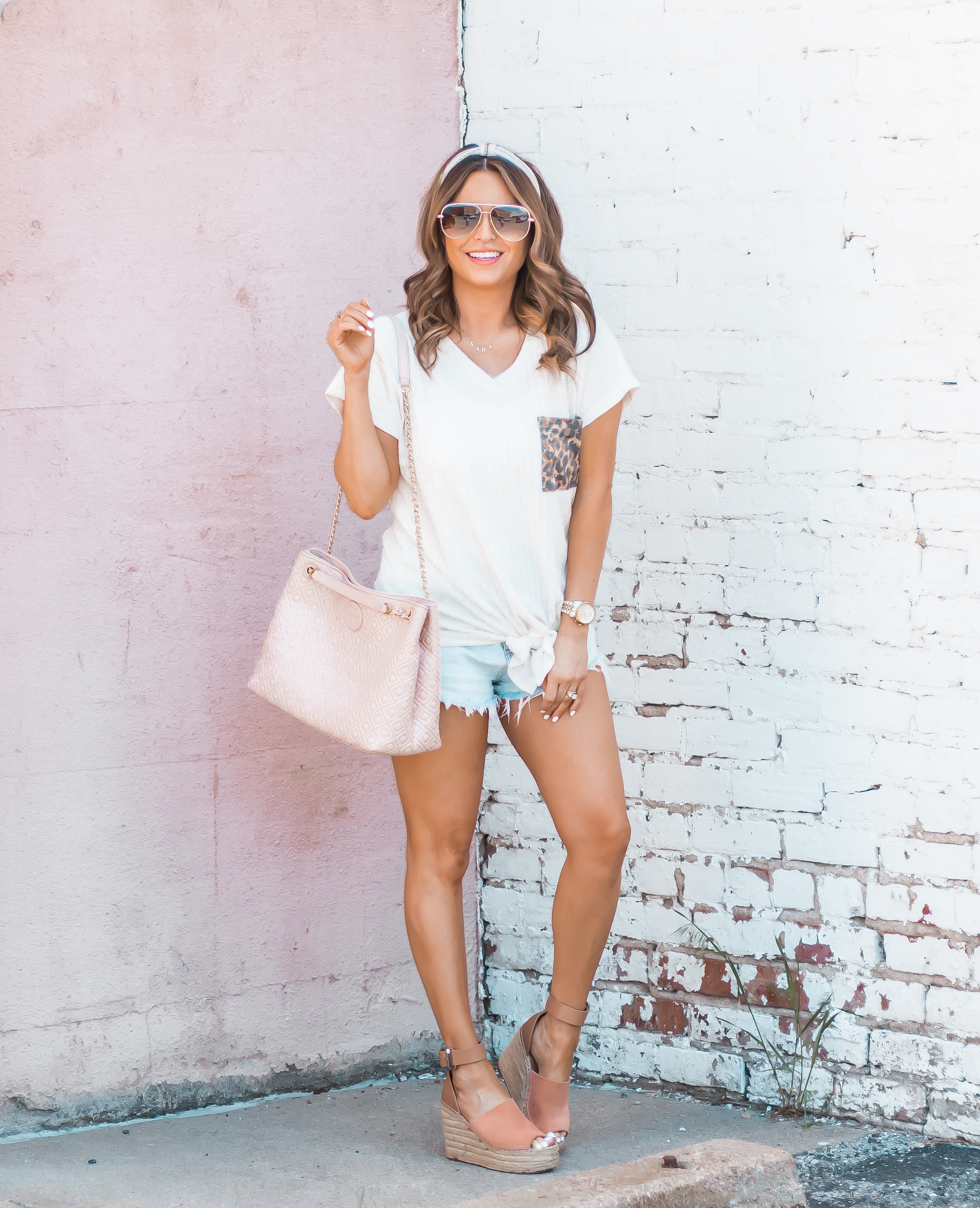 Women's Fashion-Summer Fashion-Summer Outfit Inspiration-Sabby Style-Omaha Blogger-Leopard Pocket Top-The Style Bar Boutique-Cutoff Shorts-Espadrille Wedges-Marc Fisher Wedges-Tory Burch Fleming-Quay Sunglasses-Headband Trend-Omaha-Nebraska-Midwest Blogger-12