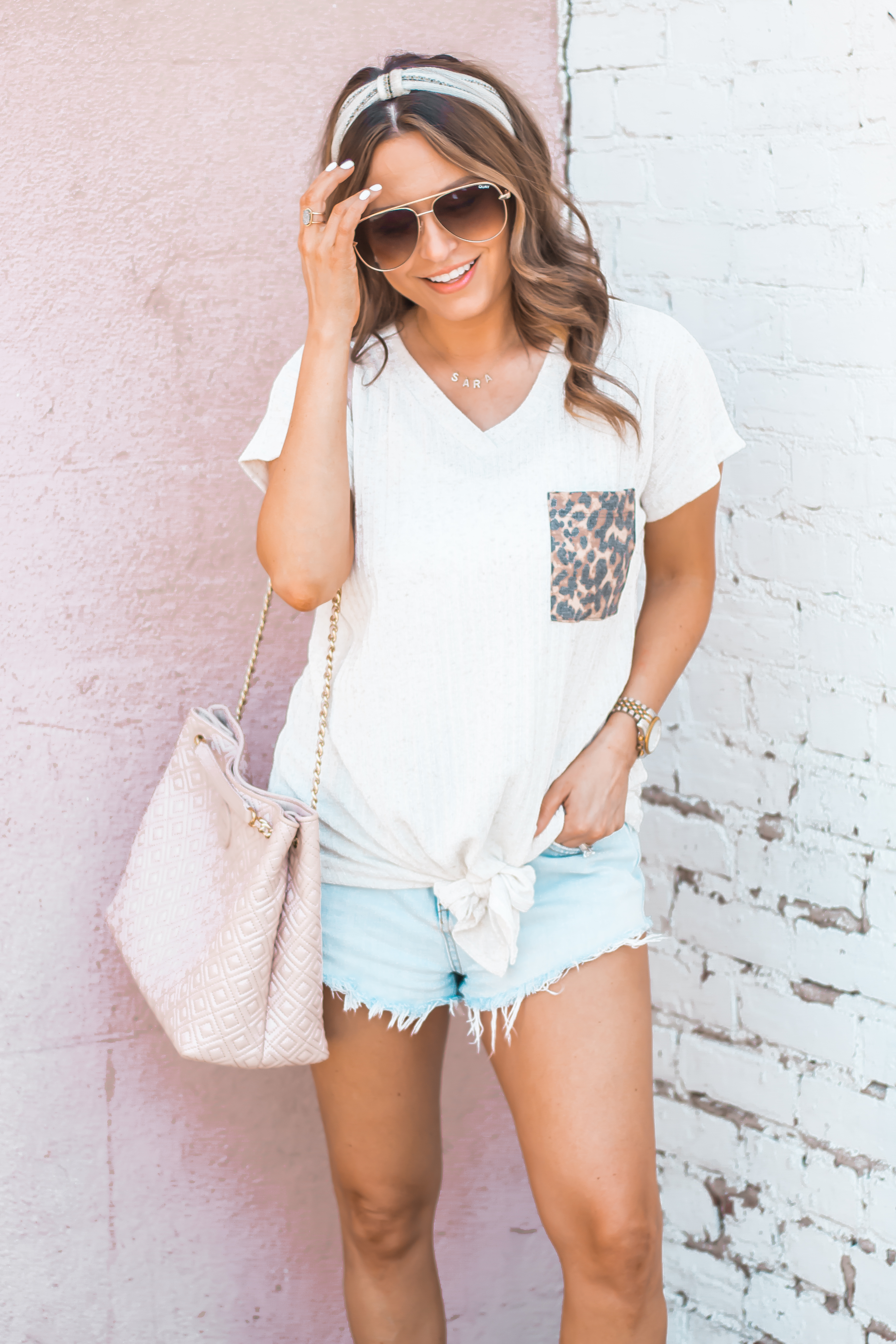Women's Fashion-Summer Fashion-Summer Outfit Inspiration-Sabby Style-Omaha Blogger-Leopard Pocket Top-The Style Bar Boutique-Cutoff Shorts-Espadrille Wedges-Marc Fisher Wedges-Tory Burch Fleming-Quay Sunglasses-Headband Trend-Omaha-Nebraska-Midwest Blogger-7