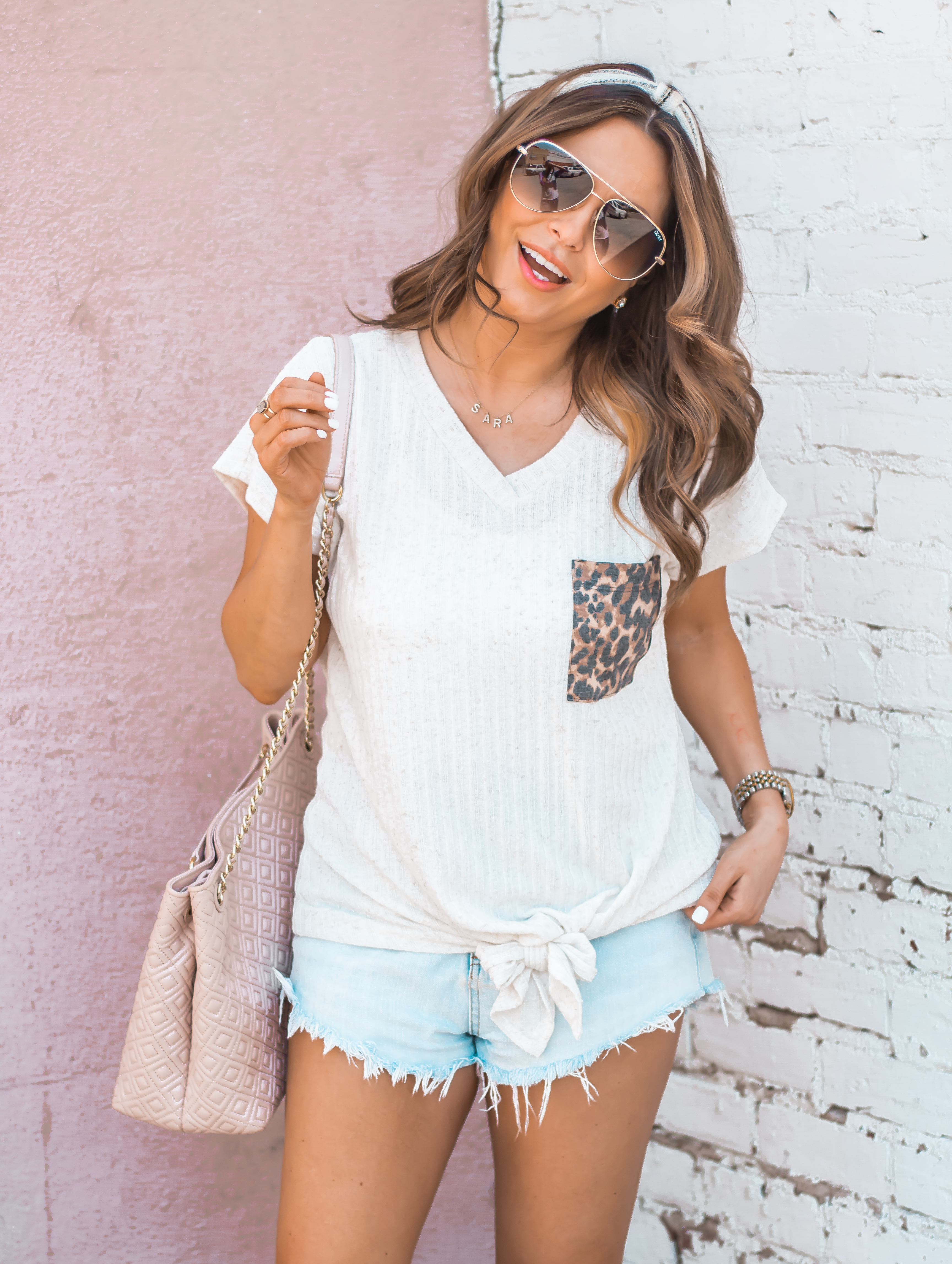 Women's Fashion-Summer Fashion-Summer Outfit Inspiration-Sabby Style-Omaha Blogger-Leopard Pocket Top-The Style Bar Boutique-Cutoff Shorts-Espadrille Wedges-Marc Fisher Wedges-Tory Burch Fleming-Quay Sunglasses-Headband Trend-Omaha-Nebraska-Midwest Blogger-9