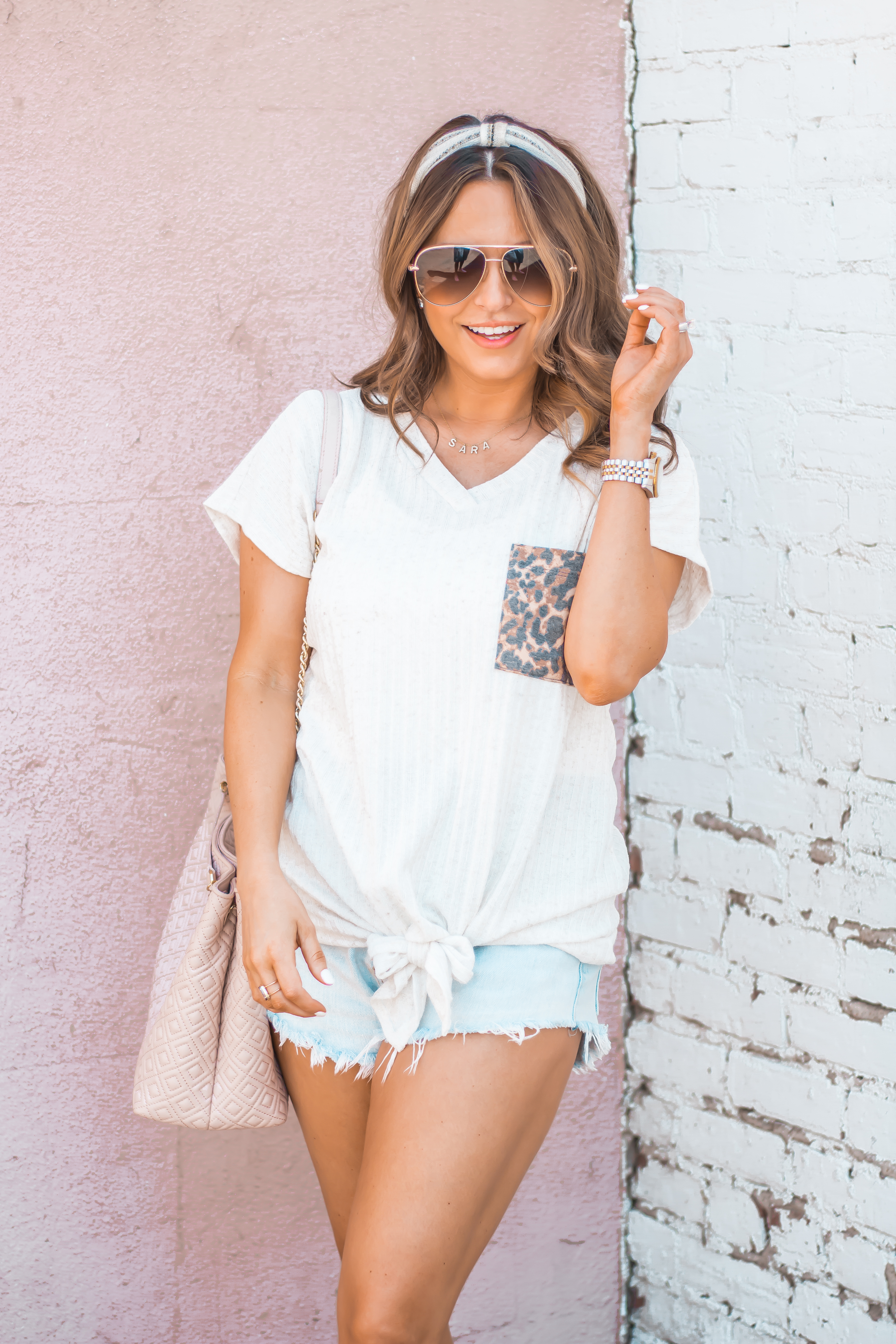 Women's Fashion-Summer Fashion-Summer Outfit Inspiration-Sabby Style-Omaha Blogger-Leopard Pocket Top-The Style Bar Boutique-Cutoff Shorts-Espadrille Wedges-Marc Fisher Wedges-Tory Burch Fleming-Quay Sunglasses-Headband Trend-Omaha-Nebraska-Midwest Blogger-6