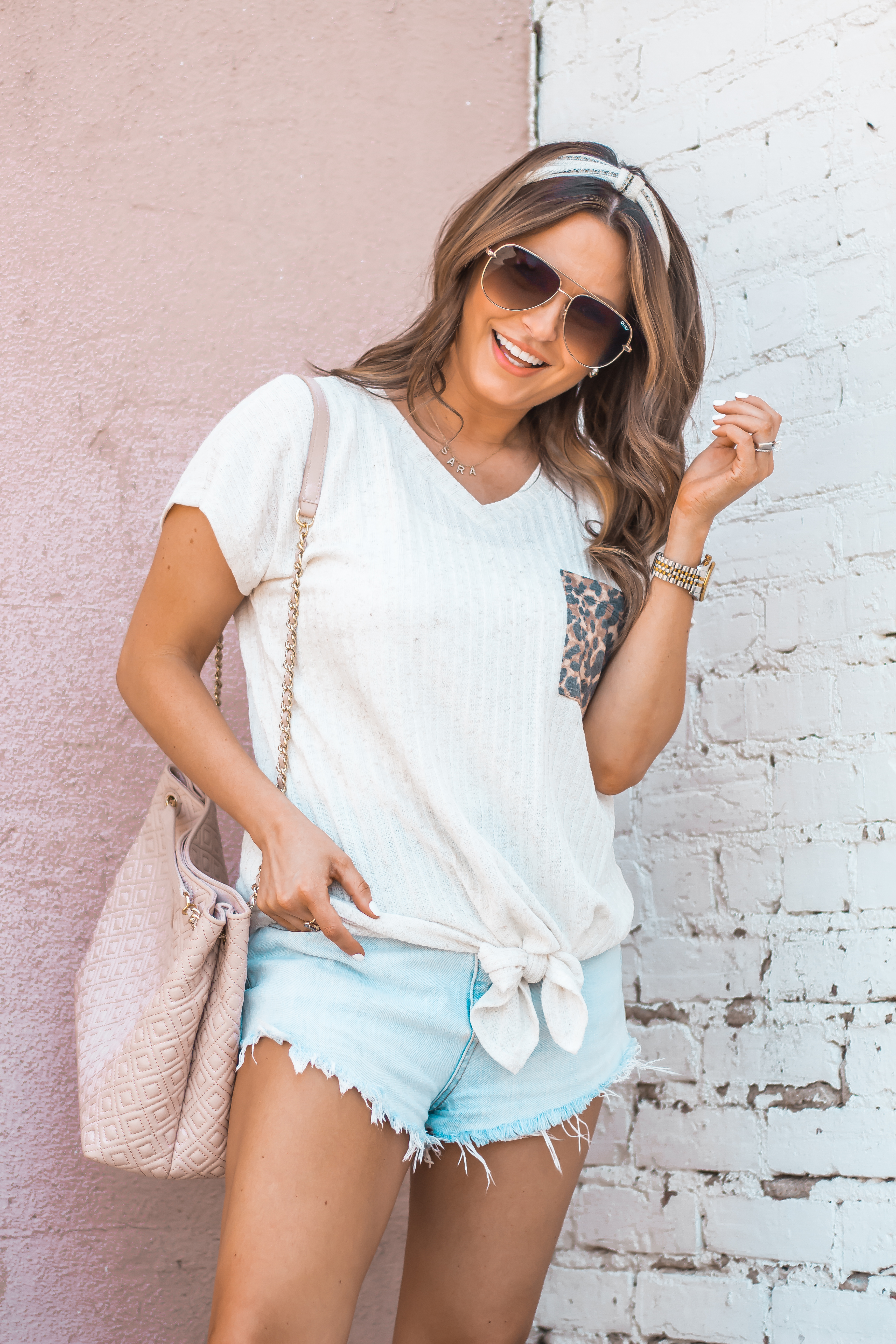 Women's Fashion-Summer Fashion-Summer Outfit Inspiration-Sabby Style-Omaha Blogger-Leopard Pocket Top-The Style Bar Boutique-Cutoff Shorts-Espadrille Wedges-Marc Fisher Wedges-Tory Burch Fleming-Quay Sunglasses-Headband Trend-Omaha-Nebraska-Midwest Blogger-4