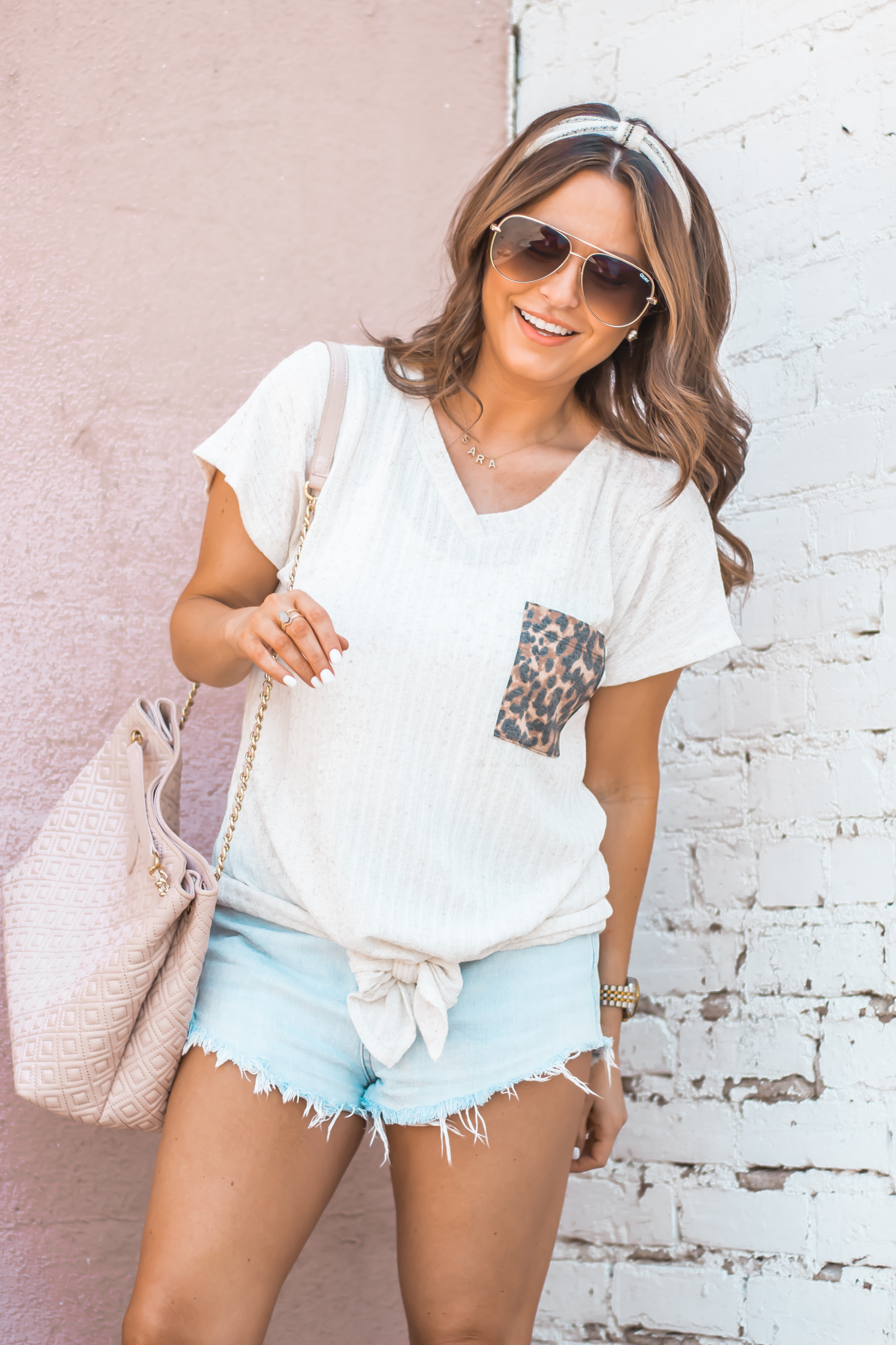 Women's Fashion-Summer Fashion-Summer Outfit Inspiration-Sabby Style-Omaha Blogger-Leopard Pocket Top-The Style Bar Boutique-Cutoff Shorts-Espadrille Wedges-Marc Fisher Wedges-Tory Burch Fleming-Quay Sunglasses-Headband Trend-Omaha-Nebraska-Midwest Blogger-1