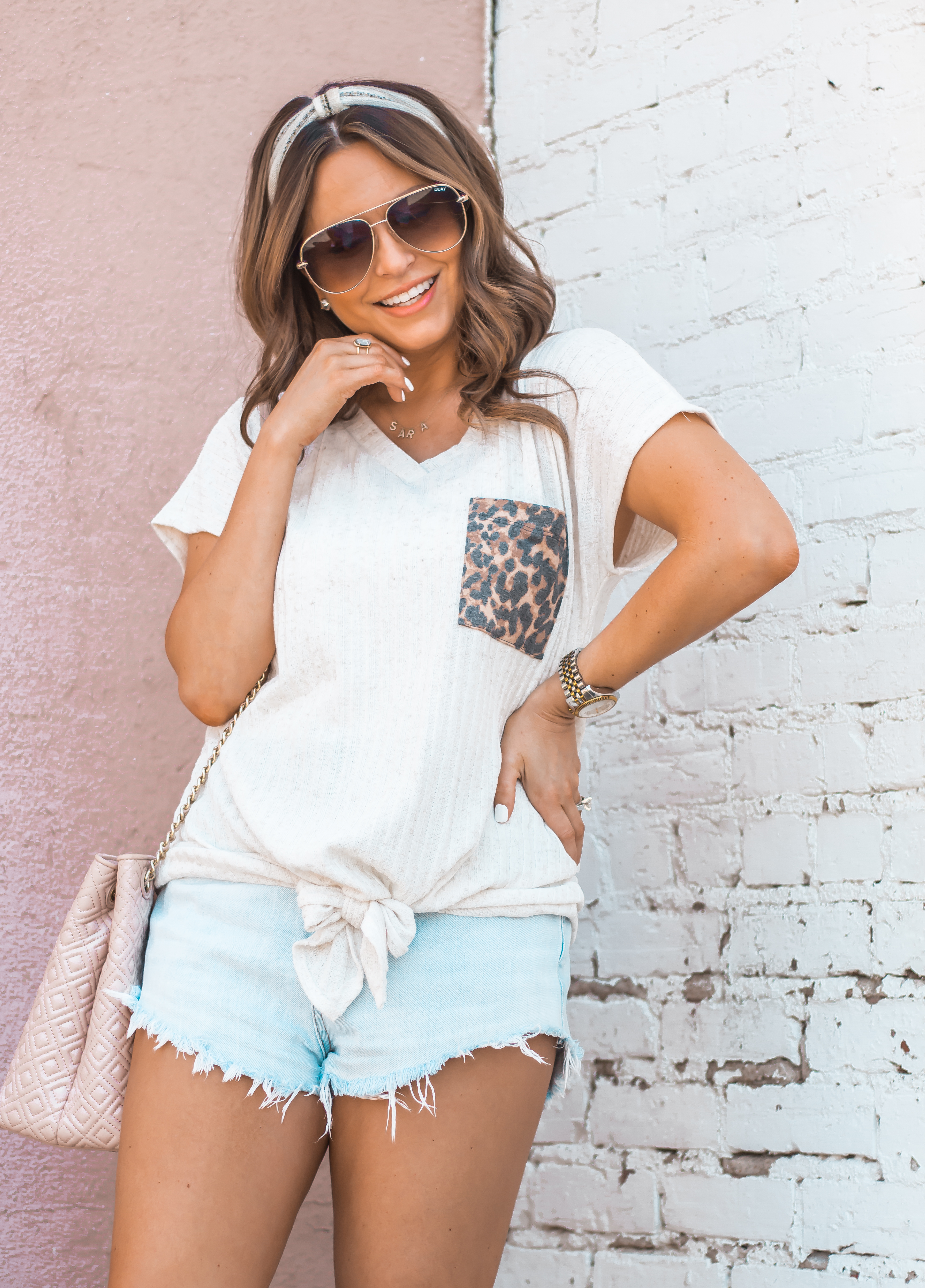 Women's Fashion-Summer Fashion-Summer Outfit Inspiration-Sabby Style-Omaha Blogger-Leopard Pocket Top-The Style Bar Boutique-Cutoff Shorts-Espadrille Wedges-Marc Fisher Wedges-Tory Burch Fleming-Quay Sunglasses-Headband Trend-Omaha-Nebraska-Midwest Blogger-2