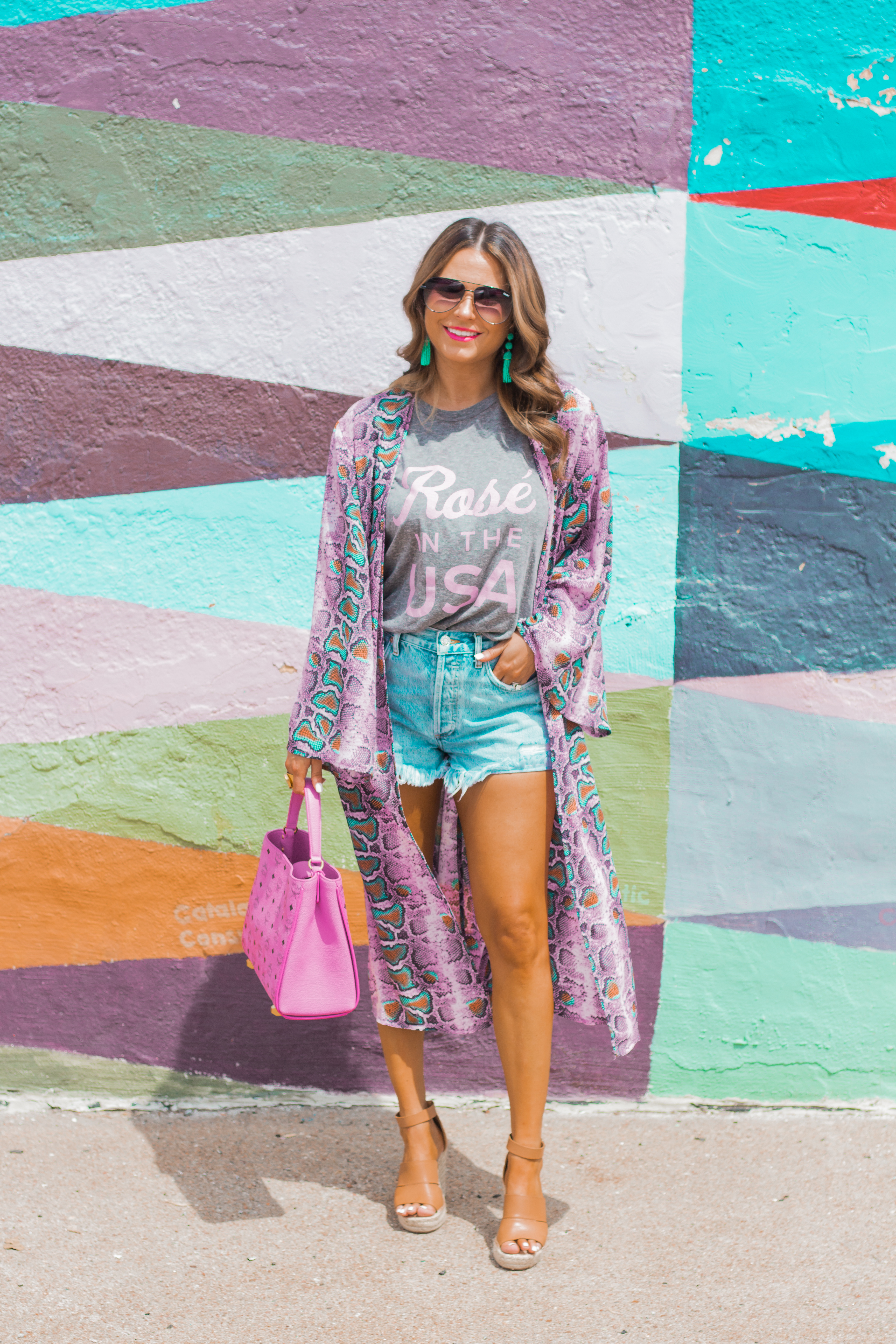 Rosé in the USA-Buddy Love-Kimono-Sugar Boutique-Women's Fashion-Summer Outfit-4th of July-Espadrille Wedges-MCM Bag-Pink Bag-Omaha Blogger-Sabby Style-Agolde Jean Shorts-Turquoise Jewelry-Quay Sunglasses-Colorful Style-Omaha-Nebraska-BaubleBar Earrings-1