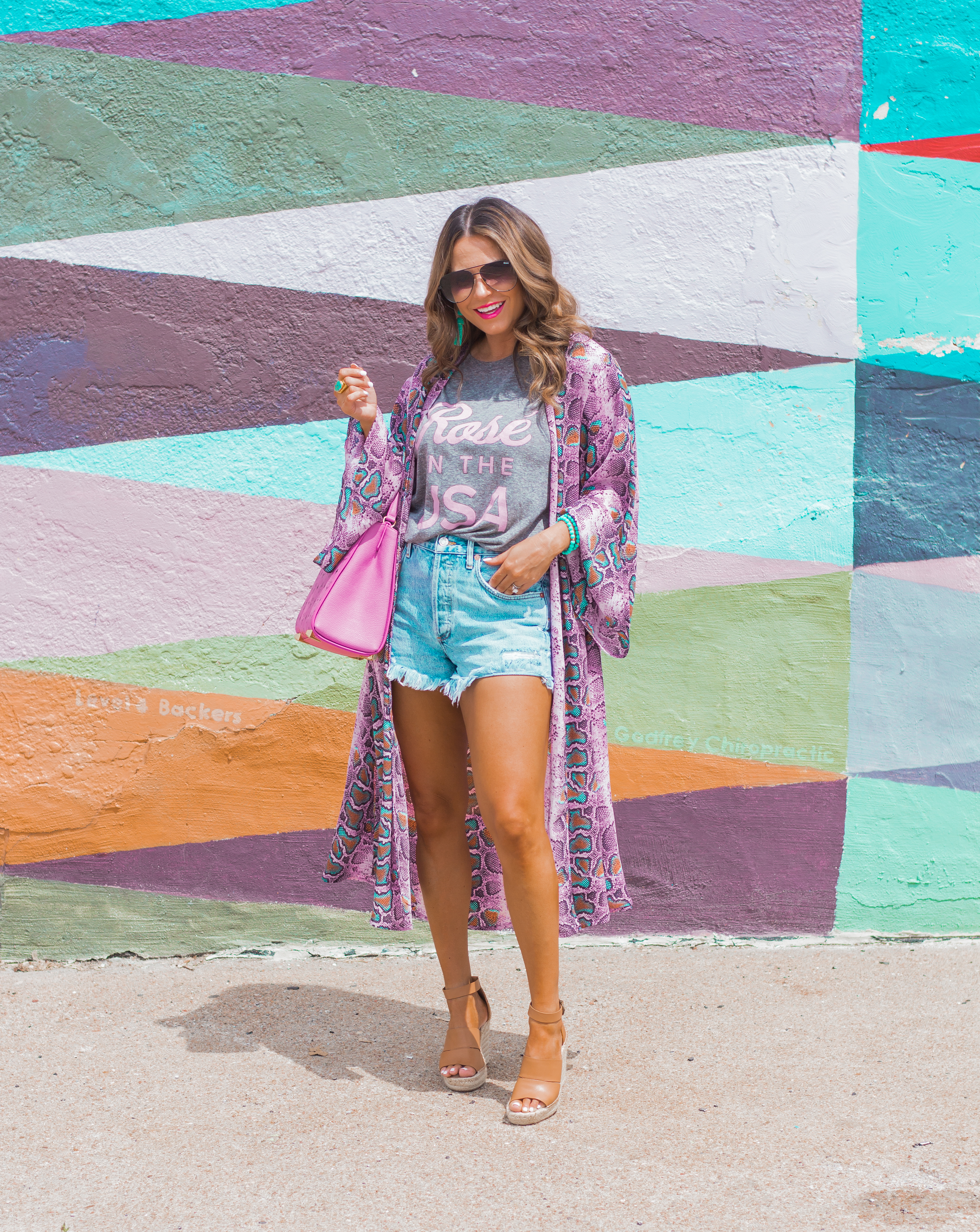Rosé in the USA-Buddy Love-Kimono-Sugar Boutique-Women's Fashion-Summer Outfit-4th of July-Espadrille Wedges-MCM Bag-Pink Bag-Omaha Blogger-Sabby Style-Agolde Jean Shorts-Turquoise Jewelry-Quay Sunglasses-Colorful Style-Omaha-Nebraska-BaubleBar Earrings-15
