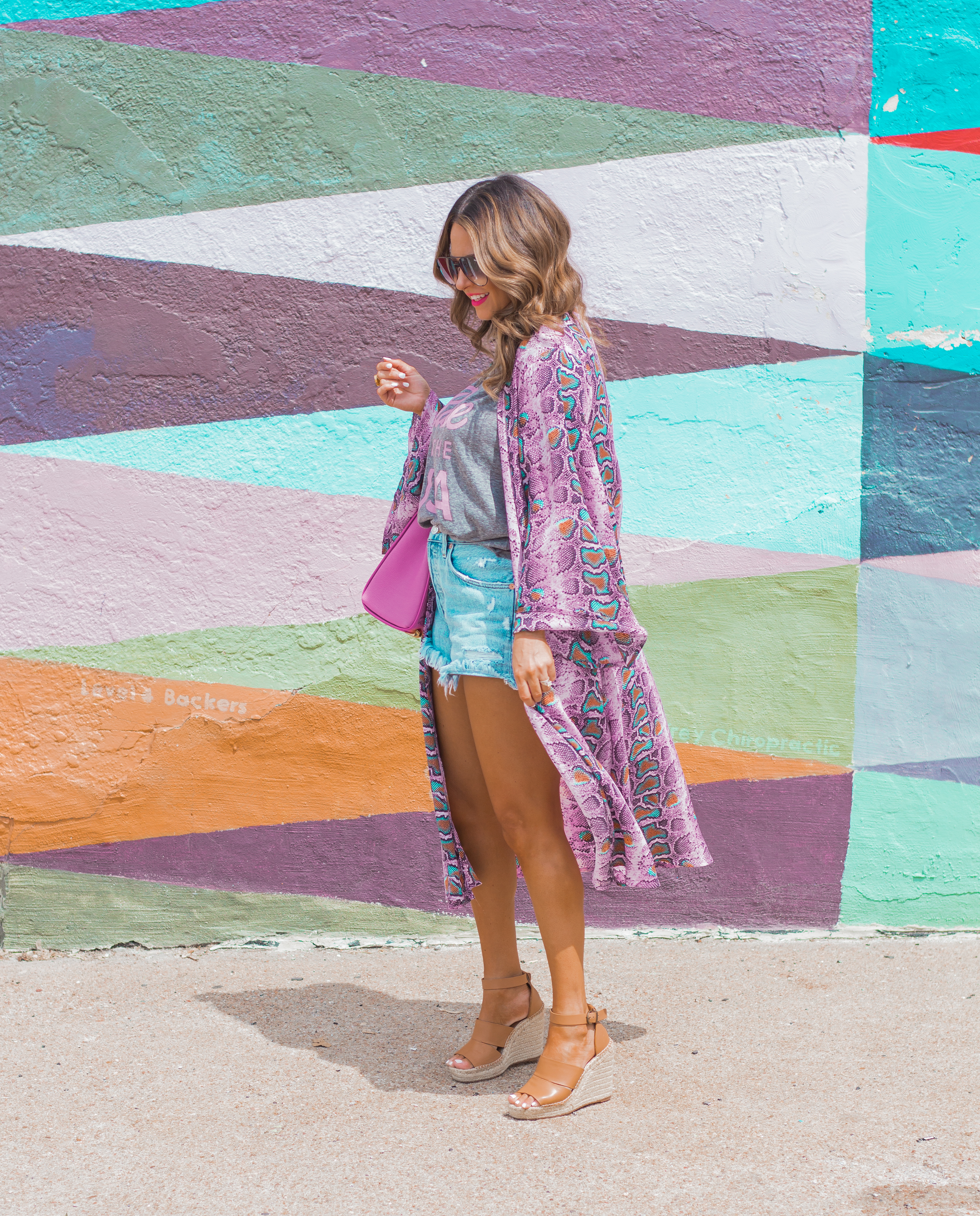 Rosé in the USA-Buddy Love-Kimono-Sugar Boutique-Women's Fashion-Summer Outfit-4th of July-Espadrille Wedges-MCM Bag-Pink Bag-Omaha Blogger-Sabby Style-Agolde Jean Shorts-Turquoise Jewelry-Quay Sunglasses-Colorful Style-Omaha-Nebraska-BaubleBar Earrings-7