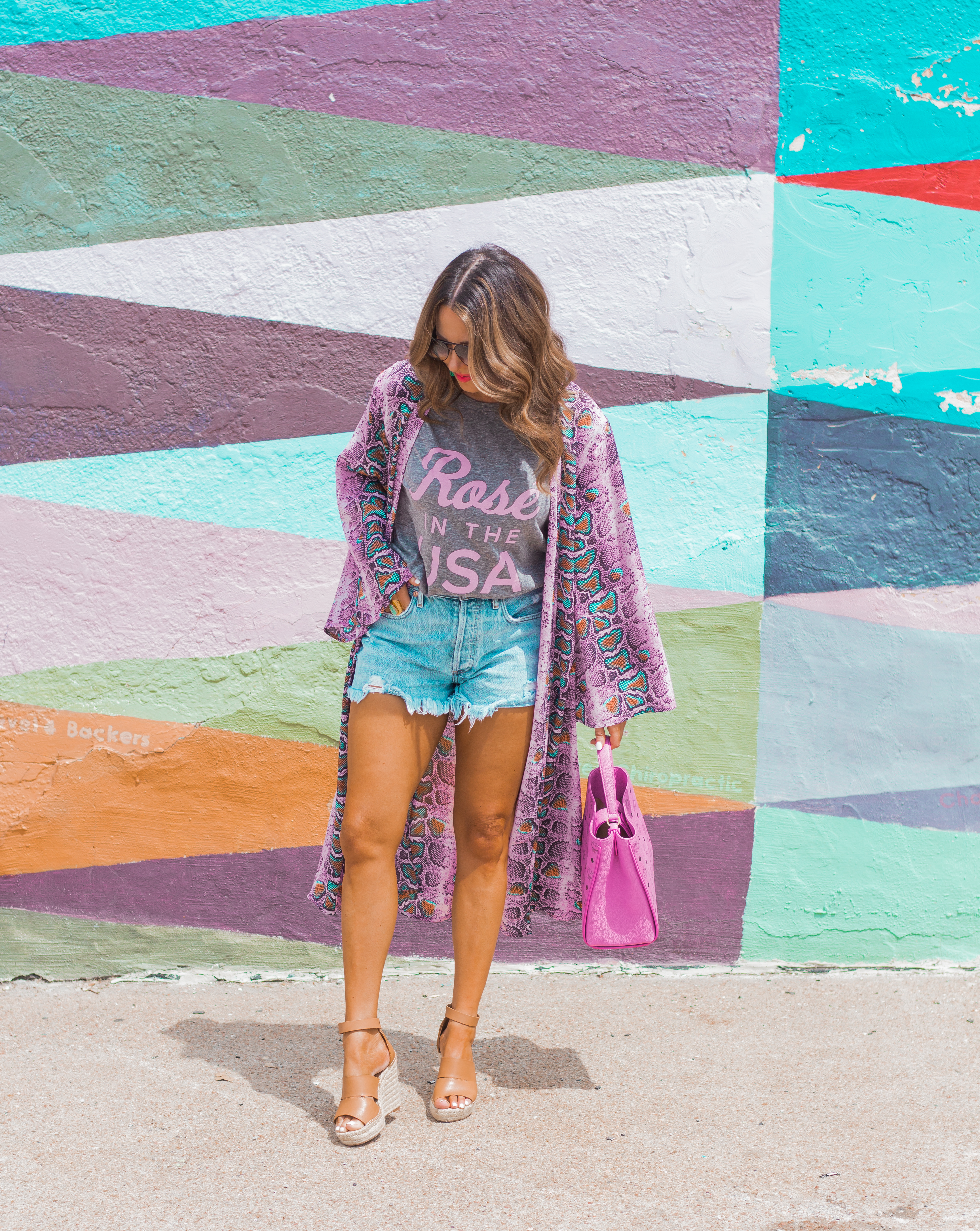 Rosé in the USA-Buddy Love-Kimono-Sugar Boutique-Women's Fashion-Summer Outfit-4th of July-Espadrille Wedges-MCM Bag-Pink Bag-Omaha Blogger-Sabby Style-Agolde Jean Shorts-Turquoise Jewelry-Quay Sunglasses-Colorful Style-Omaha-Nebraska-BaubleBar Earrings-12