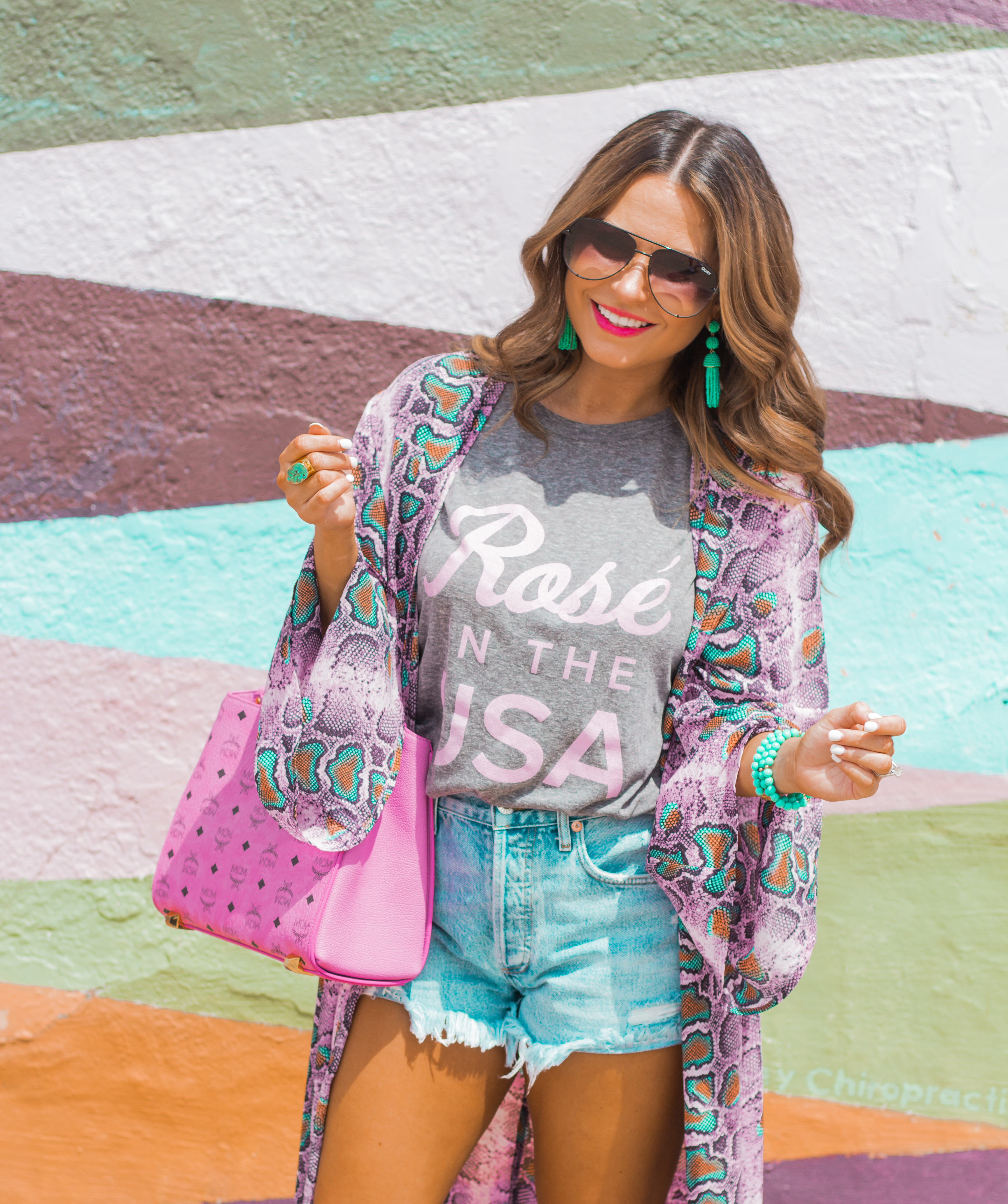 Rosé in the USA-Buddy Love-Kimono-Sugar Boutique-Women's Fashion-Summer Outfit-4th of July-Espadrille Wedges-MCM Bag-Pink Bag-Omaha Blogger-Sabby Style-Agolde Jean Shorts-Turquoise Jewelry-Quay Sunglasses-Colorful Style-Omaha-Nebraska-BaubleBar Earrings-2