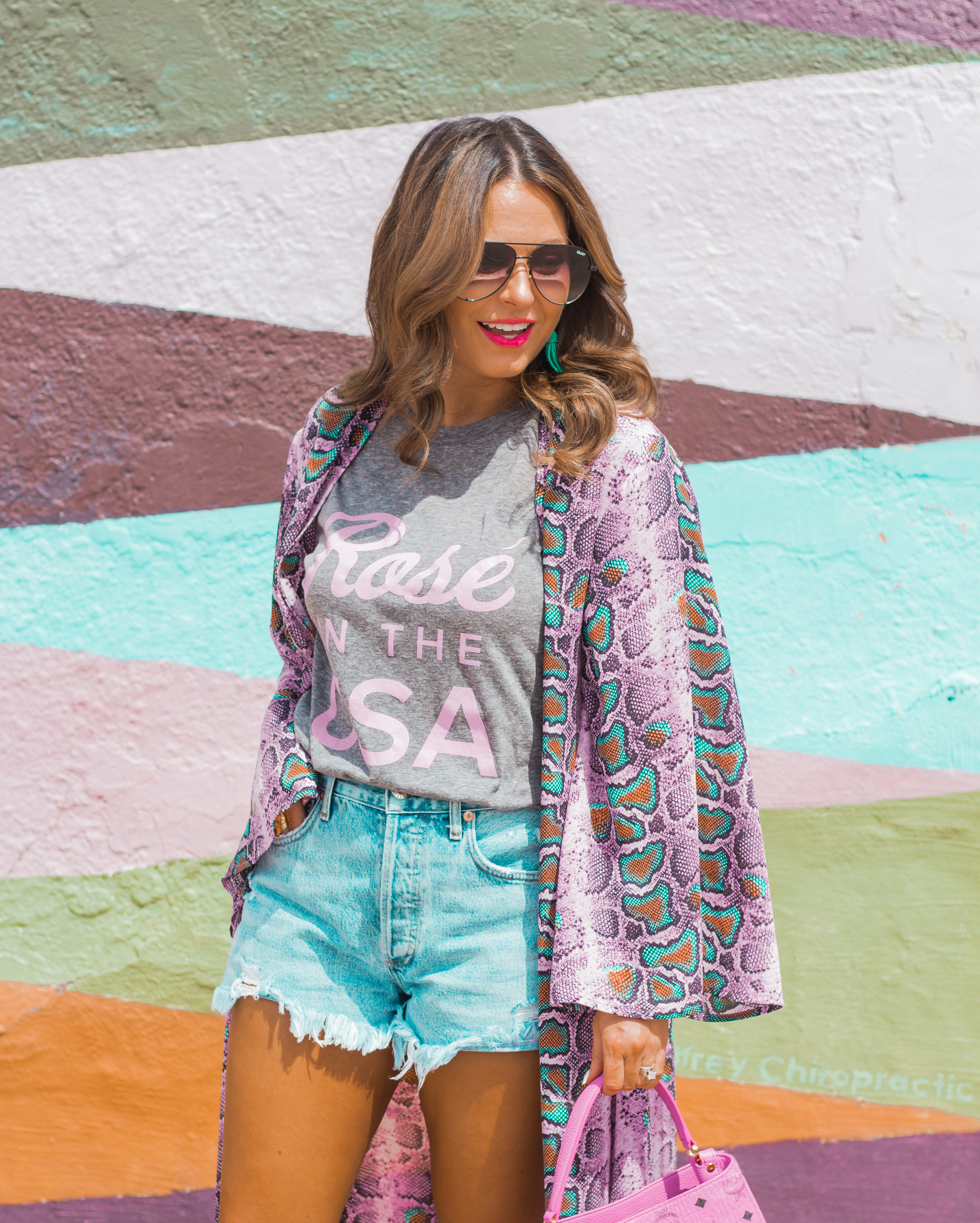 Rosé in the USA-Buddy Love-Kimono-Sugar Boutique-Women's Fashion-Summer Outfit-4th of July-Espadrille Wedges-MCM Bag-Pink Bag-Omaha Blogger-Sabby Style-Agolde Jean Shorts-Turquoise Jewelry-Quay Sunglasses-Colorful Style-Omaha-Nebraska-BaubleBar Earrings-8