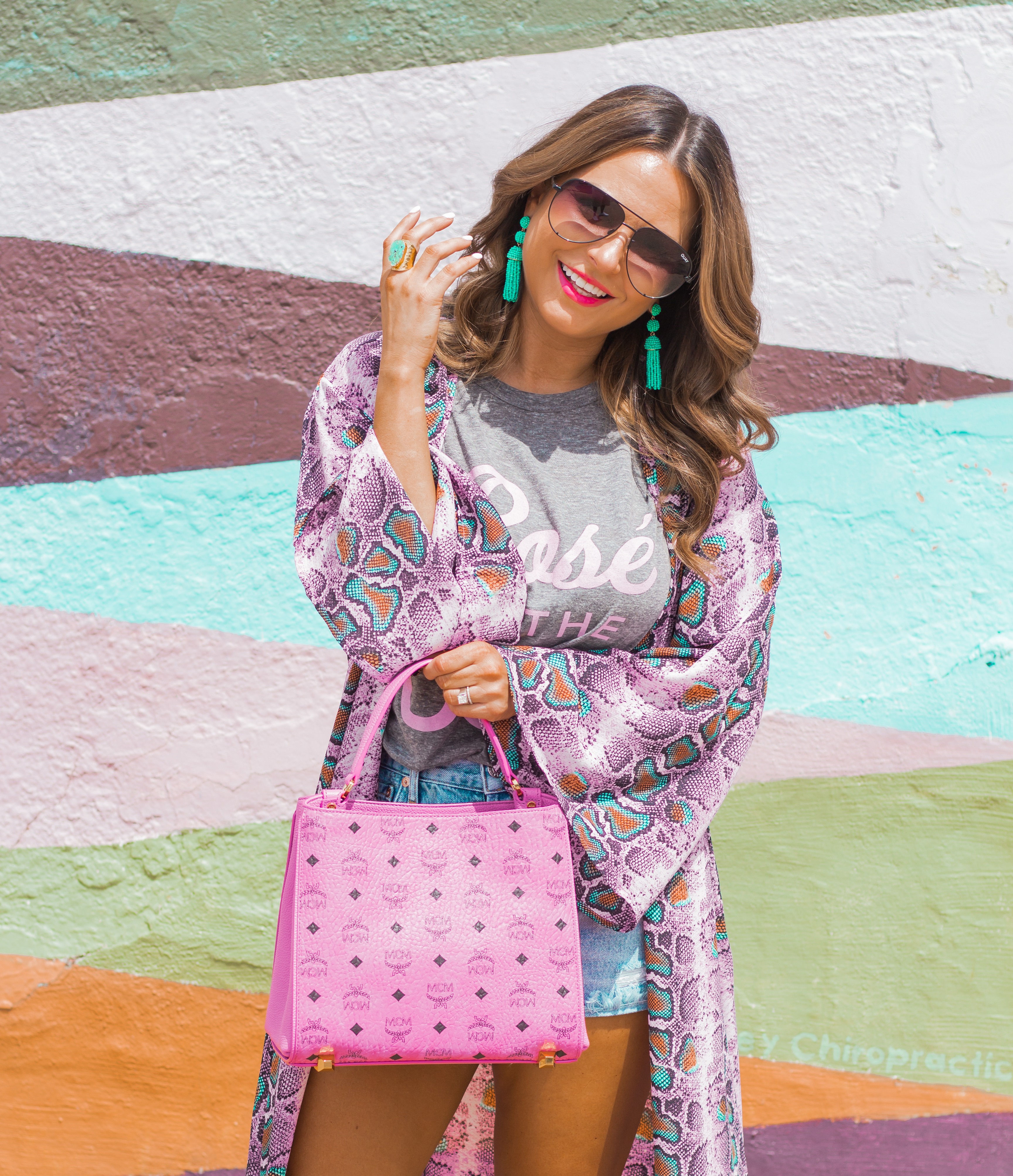 Rosé in the USA-Buddy Love-Kimono-Sugar Boutique-Women's Fashion-Summer Outfit-4th of July-Espadrille Wedges-MCM Bag-Pink Bag-Omaha Blogger-Sabby Style-Agolde Jean Shorts-Turquoise Jewelry-Quay Sunglasses-Colorful Style-Omaha-Nebraska-BaubleBar Earrings-4