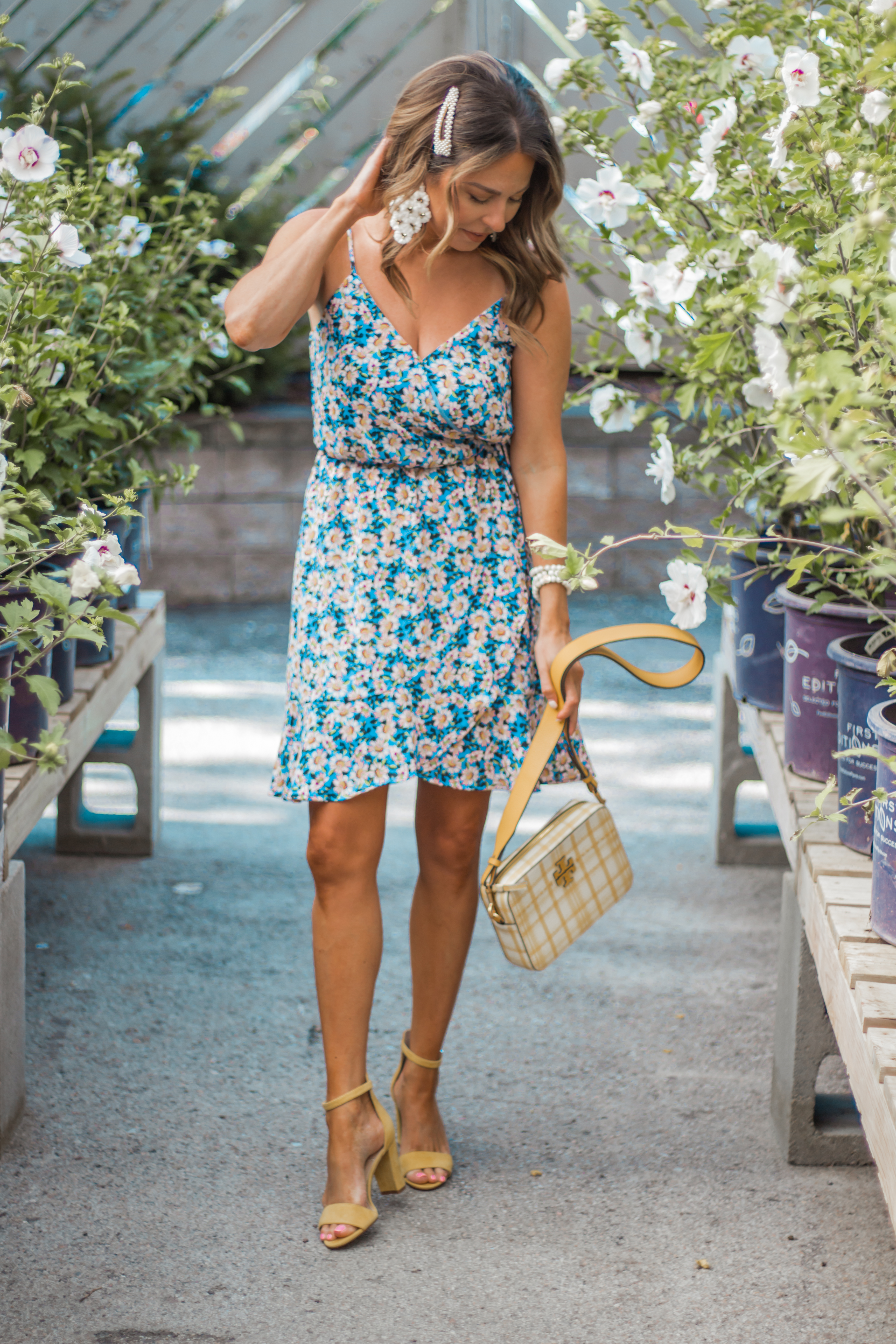 Women's Fashion-Sabby Style-Summer Fashion-Summer Dress-Pearl Barrette-Wide Brim Hat-Hair Accessories-Omaha Blogger-Nebraska Blogger-Colorful Style-Floral Dress-2
